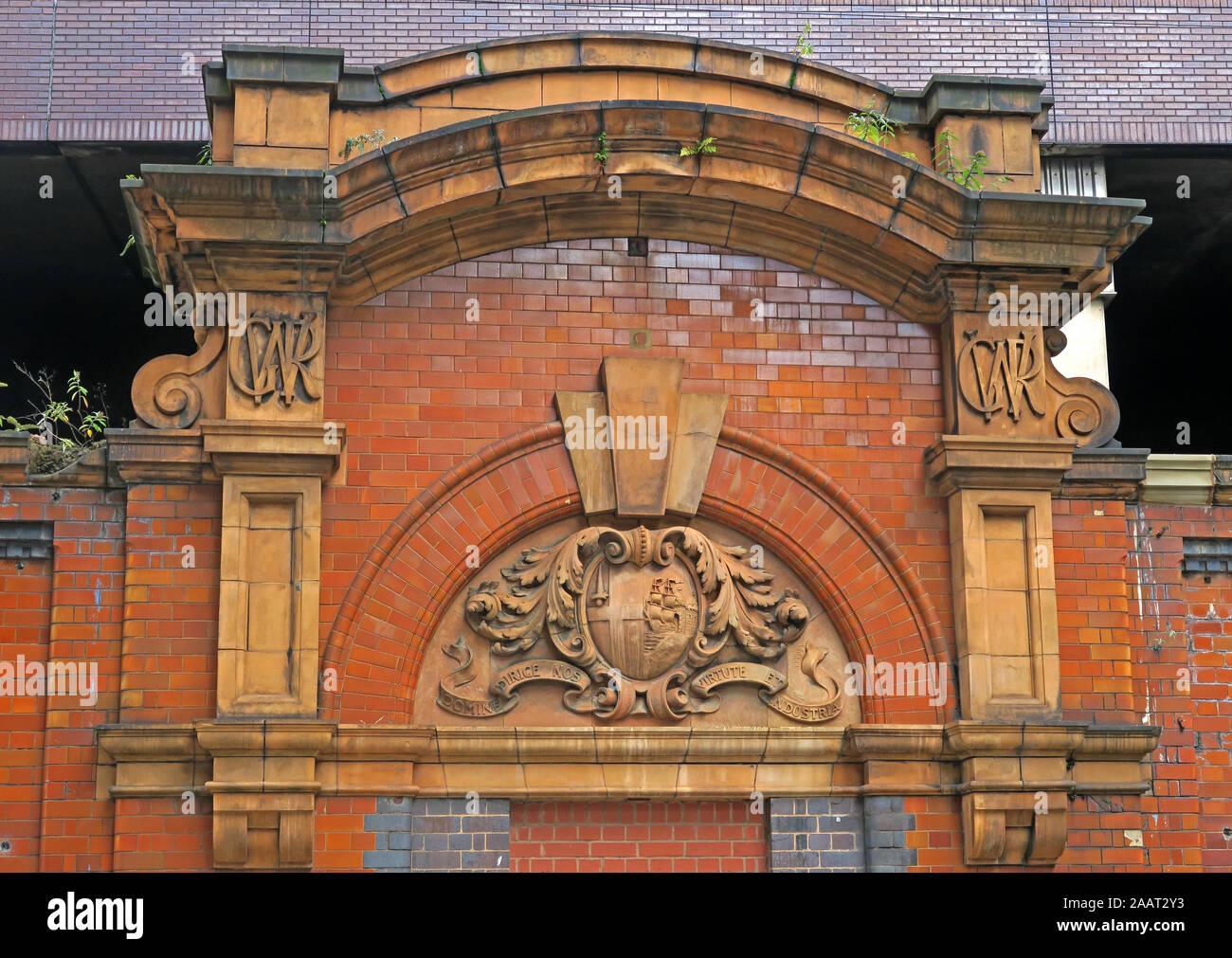 GWR frontage brick and stonework, Snow Hill station, Birmingham City Centre, West Midlands, B3 2BJ Stock Photo