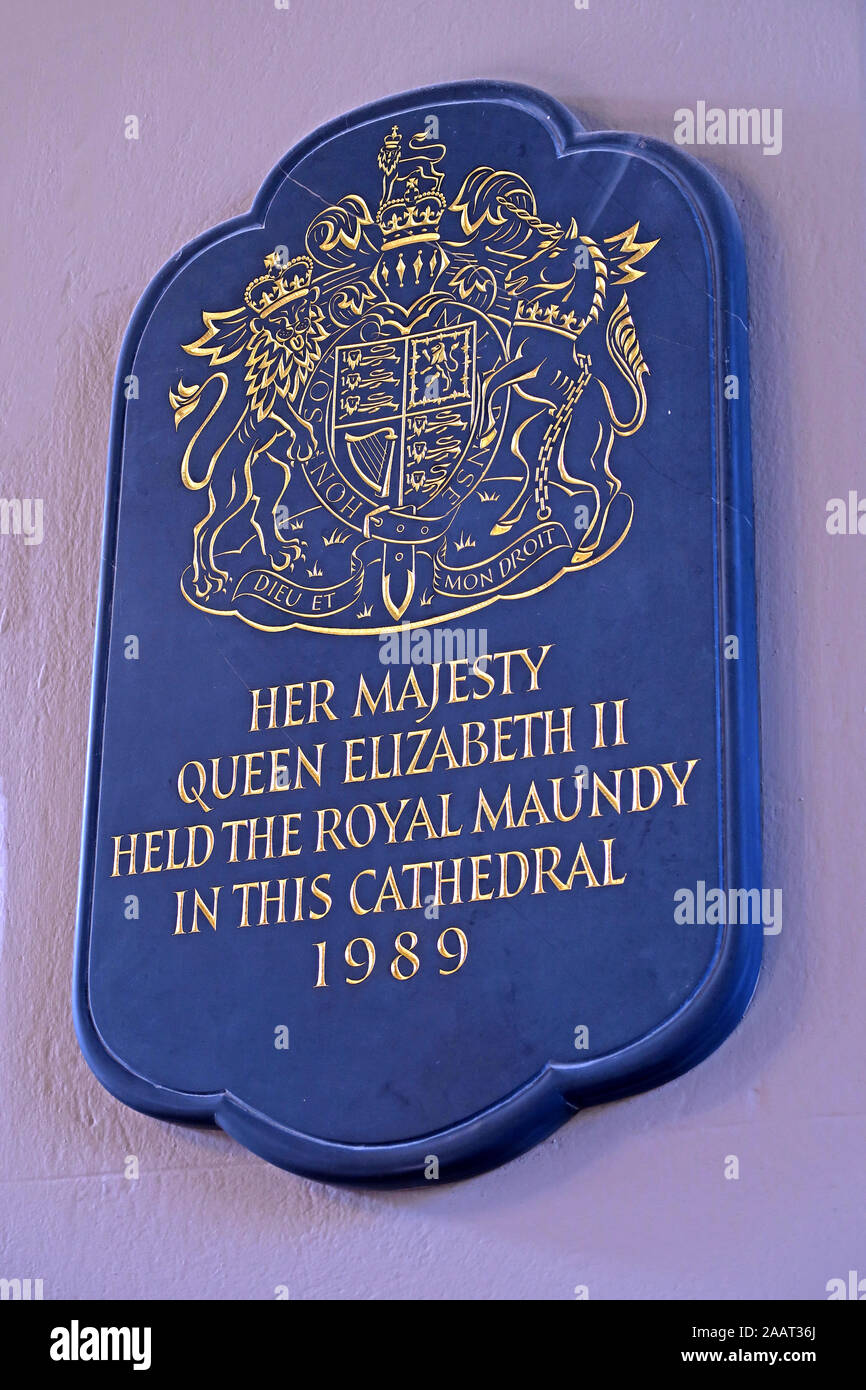 Her majesty Queen Elizabeth II, held the Royal Maundy, in This Cathedral, 1989 - St Philips Cathedral,Colmore Row, Birmingham B3 2QB Stock Photo