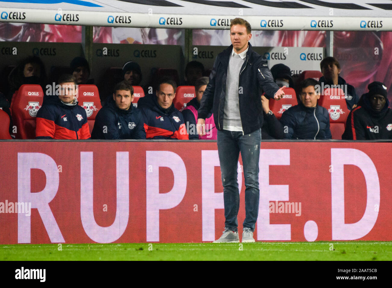 Leipzig Germany 23rd Nov 2019 Head Coach Of Leipzig Julian Nagelsmann Front Reacts During A German Bundesliga Match Between Rb Leipzig And 1 Fc Koeln In Leipzig Germany On Nov 23 2019 Credit