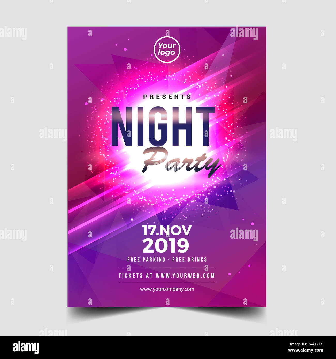Vector Iilustration Dance Club Night Summer Party Poster Flyer Layout Template Colorful Music Disco Banner Design Vector Stock Photo Alamy