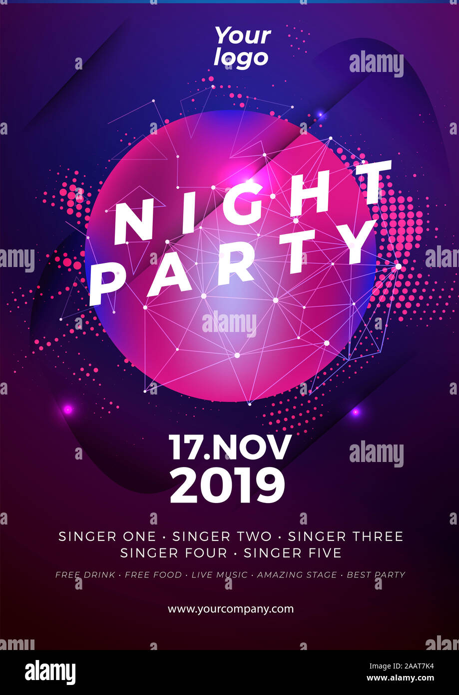 Dance Club Night Party Flyer Brochure Layout Template Club Party Banner Design Vector Illustration Vector Stock Photo Alamy