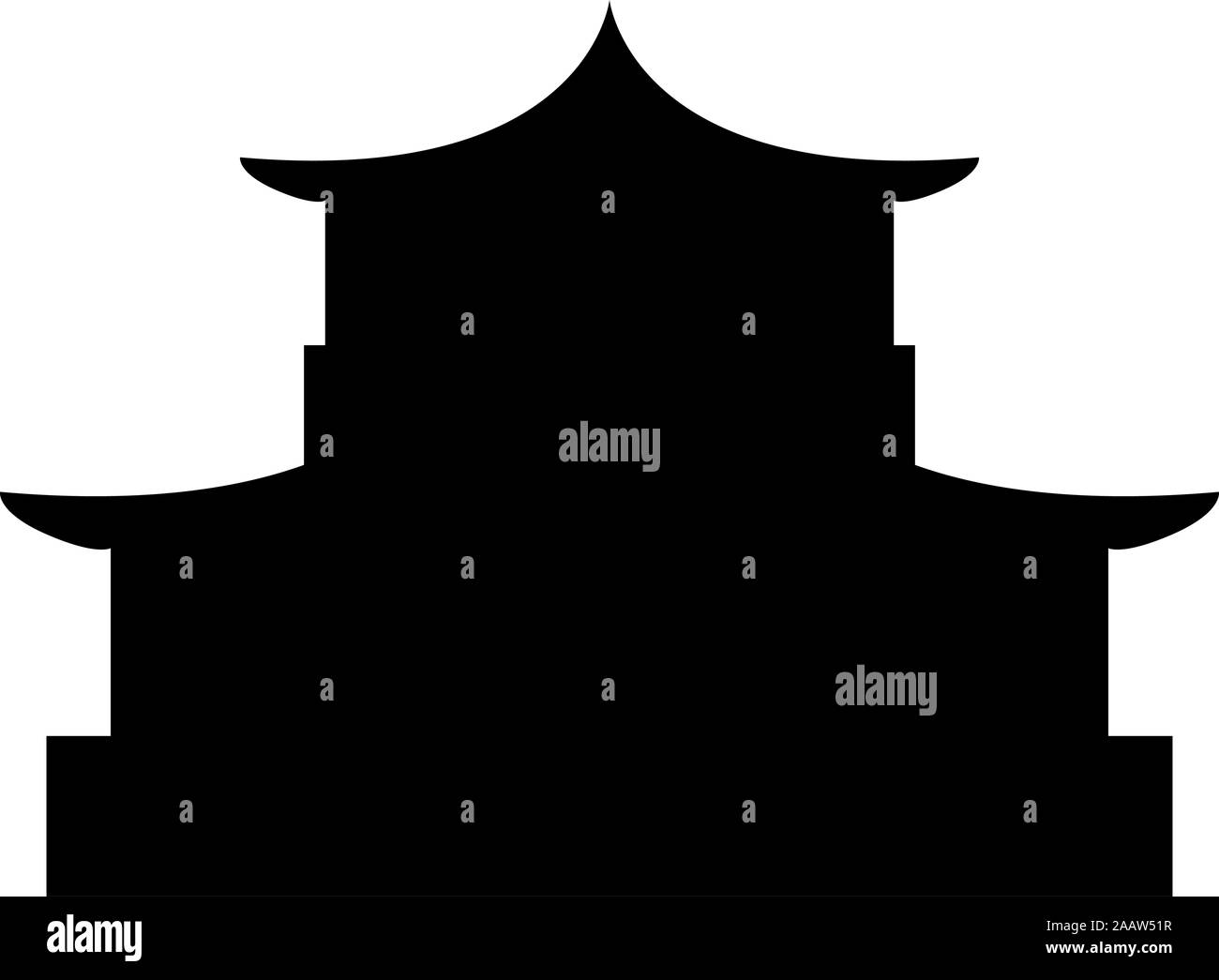 Chinese house silhouette Traditional Asian pagoda Japanese cathedral Facade icon black color vector illustration flat style simple image Stock Vector