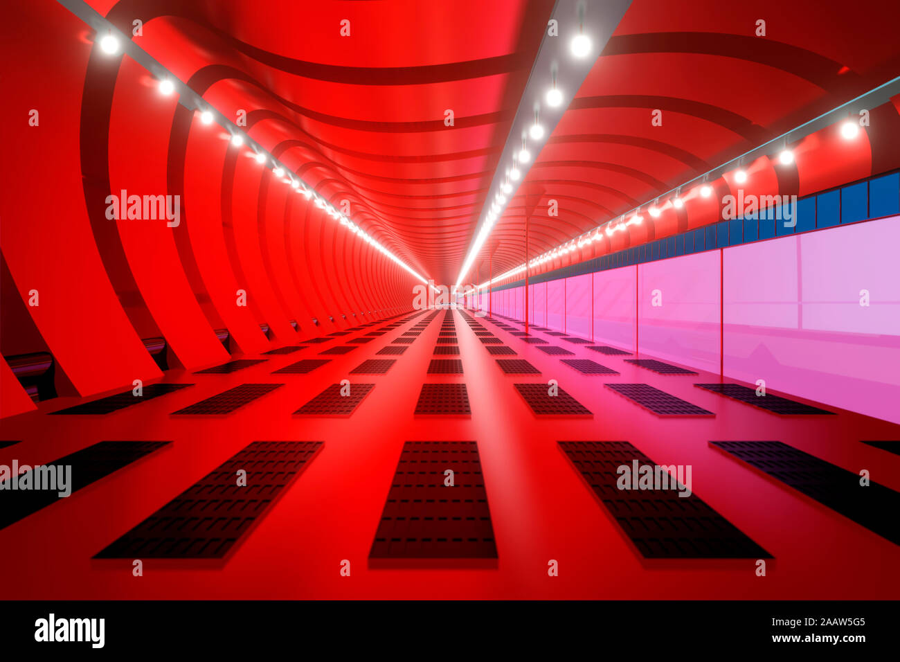 3D Rendered Illustration, visualisation of a science fiction spaceship, gangway Stock Photo