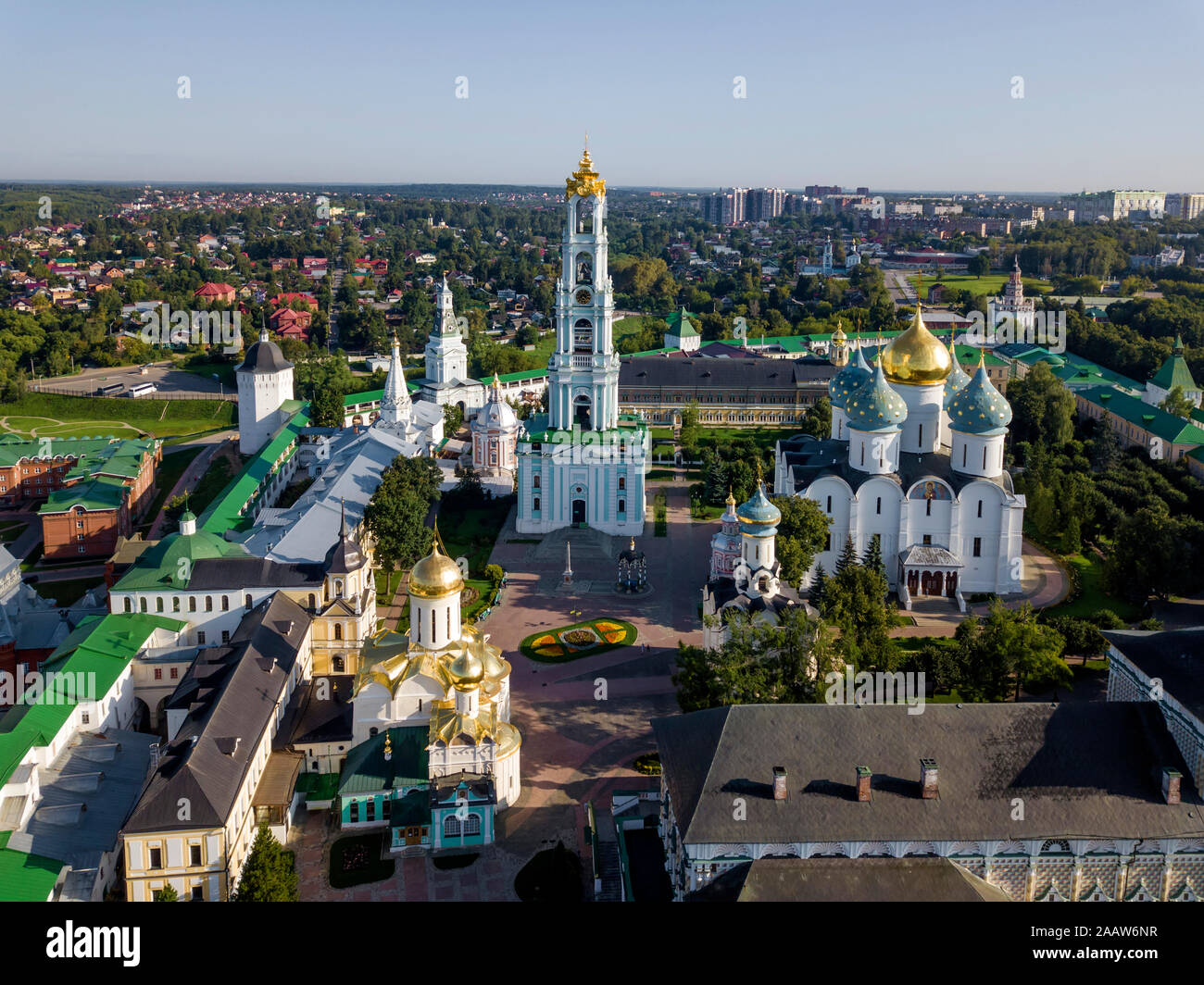 Trinity Lavra Of St. Sergius against clear sky in Sergiev Posad, Moscow, Russia Stock Photo