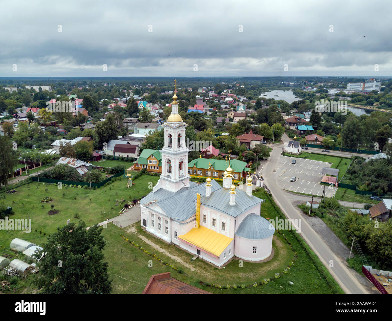 Aerial view of Ascension Church against cloudy sky at Kimry, Moscow, Russia Stock Photo