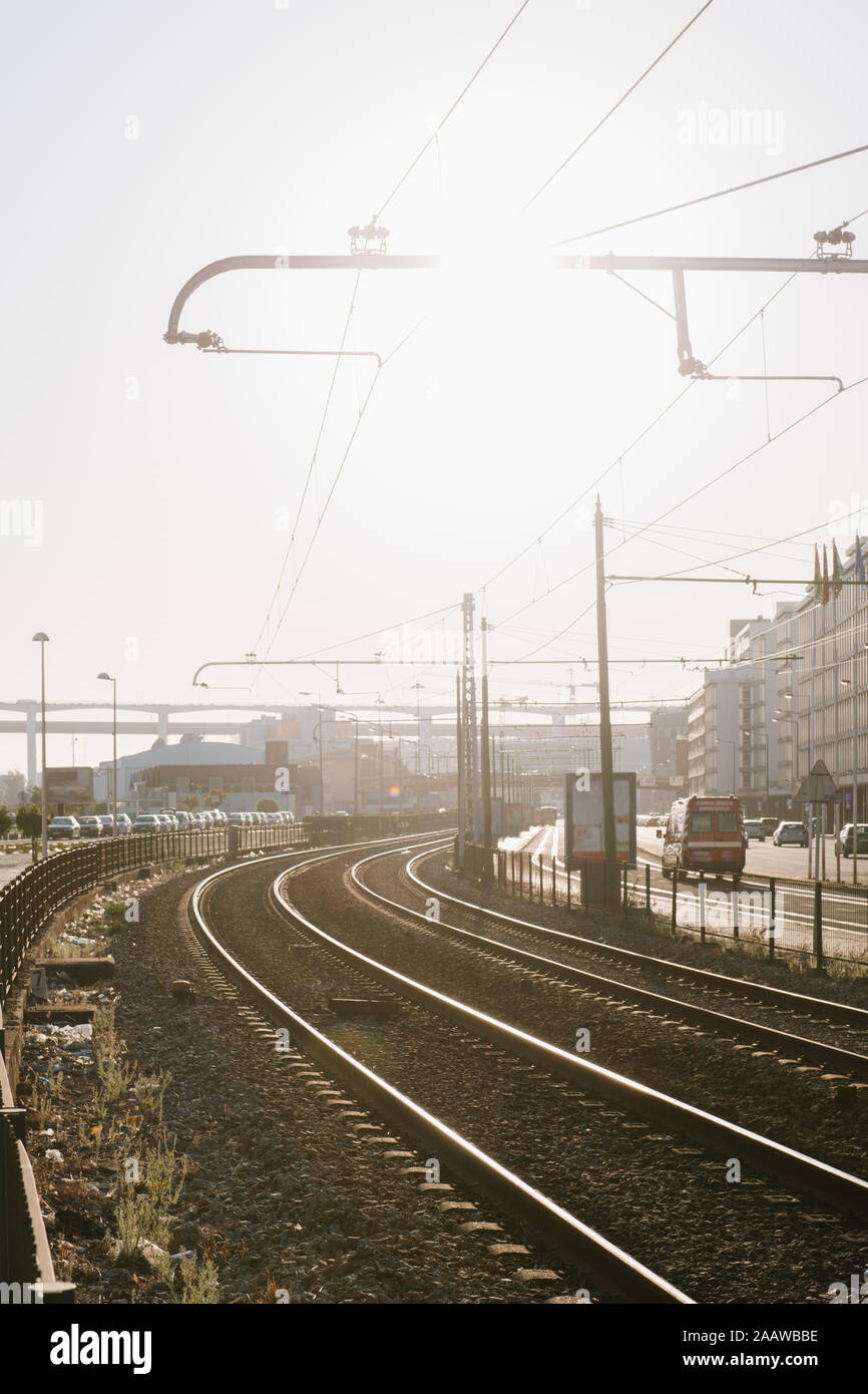 View of railway tracks in the city, Lisbon, Portugal Stock Photo