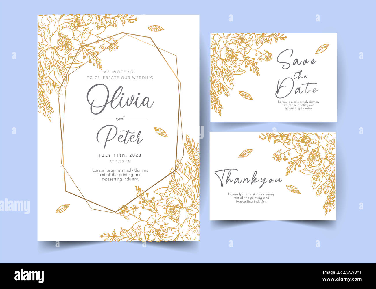 wedding invitation card template with golden flower floral