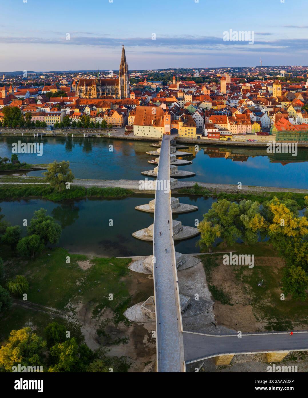 Aerial view of Stone Bridge over Danube River in Regensburg, Bavaria, Germany Stock Photo