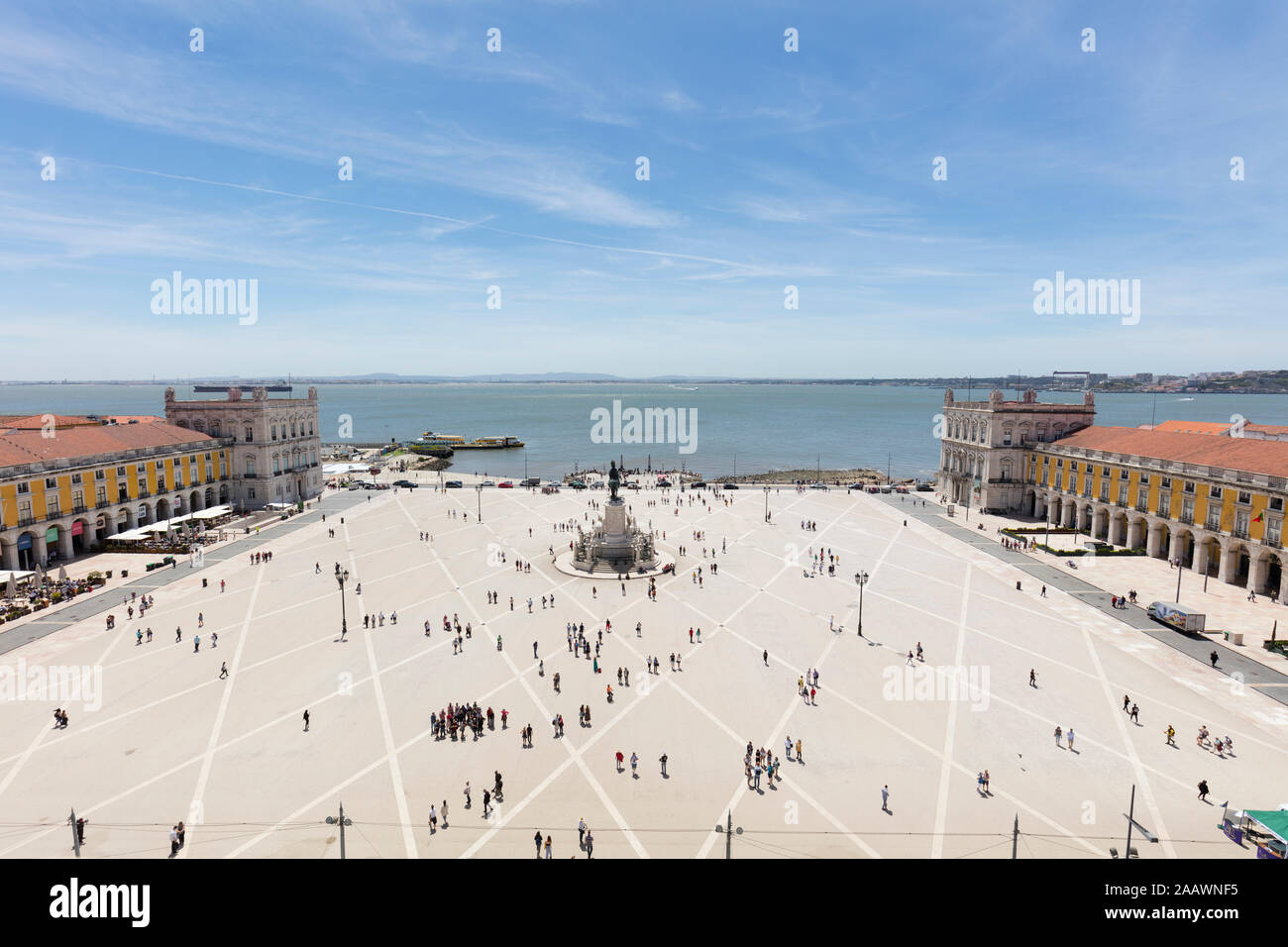 Aerial view of people at Praca do Comércio against sky, Lisbon, Portugal Stock Photo