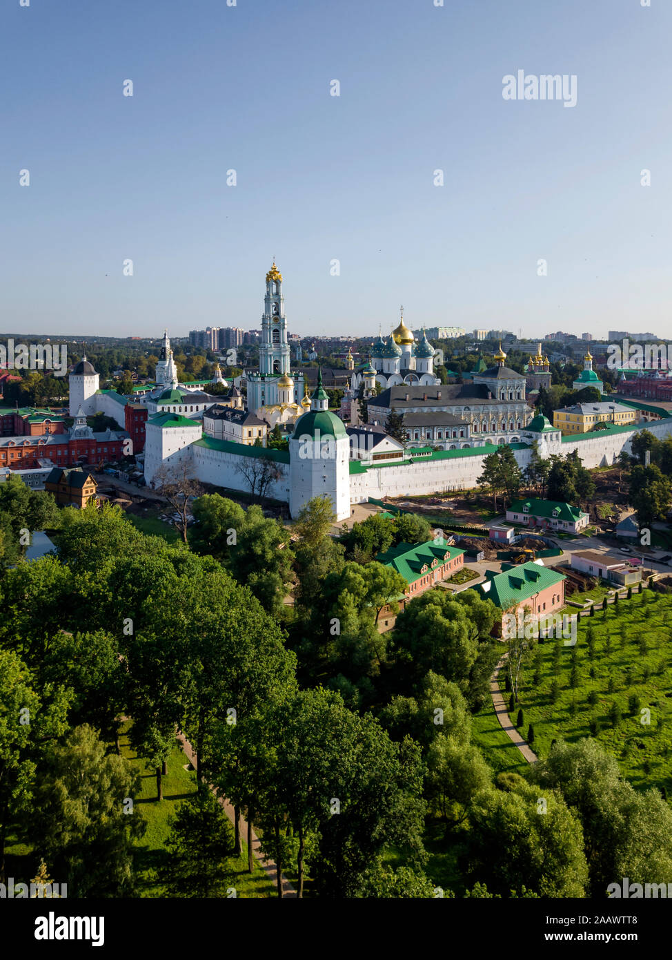 Trinity Lavra Of St. Sergius against clear sky in town, Moscow, Russia Stock Photo