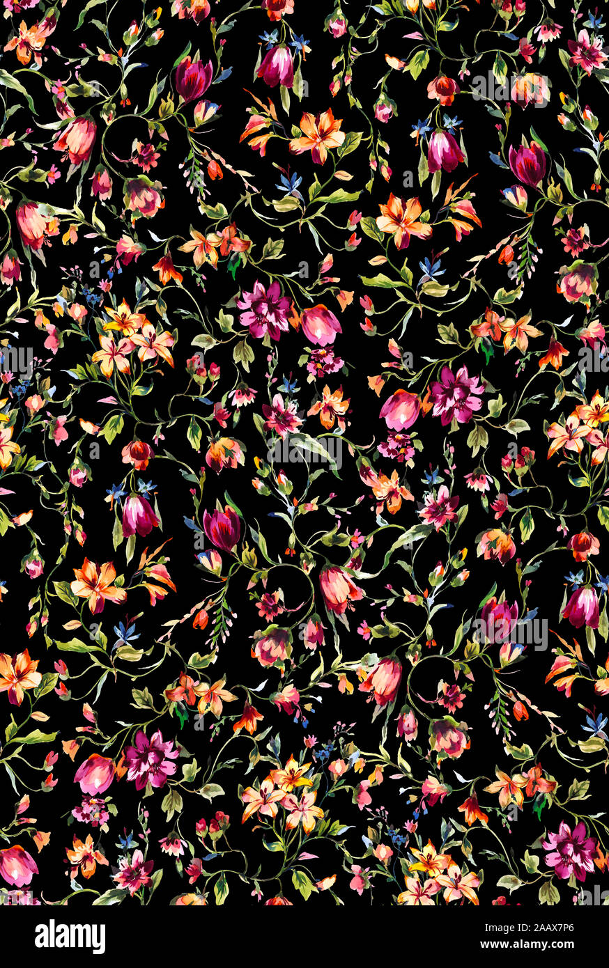 Seamless Watercolor Floral Pattern With Colorful Flowers And