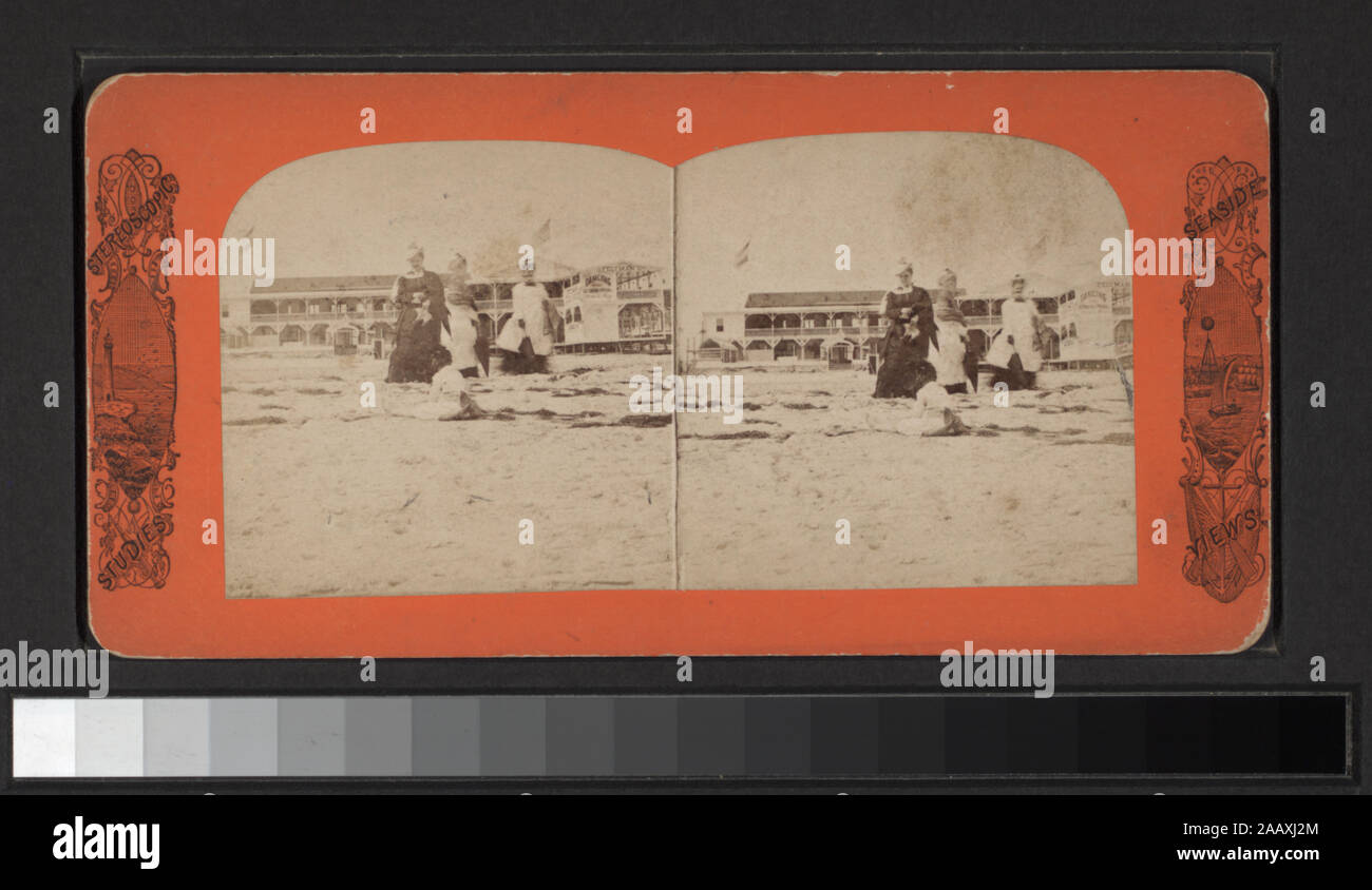 Feltman's Hotel (West Brighton Beach, Coney Island) Includes views by Anthony, Keystone, Strohmeyer & Wyman and other photographers and publishers. Robert Dennis Collection of Stereoscopic Views. Title devised by cataloger. Views of Coney Island, Brighton and Manhattan Beaches: people on the beach, in the water, one view showing drowned boy, rescuers and onlookers, benches, Iron Pier, Oriental Hotel and an amusement ride called the Razzle Dazzle at Coney Island; Music Pavilion, boardwalk, Hotel Brighton, Feltman's Hotel at Brighton Beach; Manhattan Beach Hotel, music stand; toll gate on Shell Stock Photo
