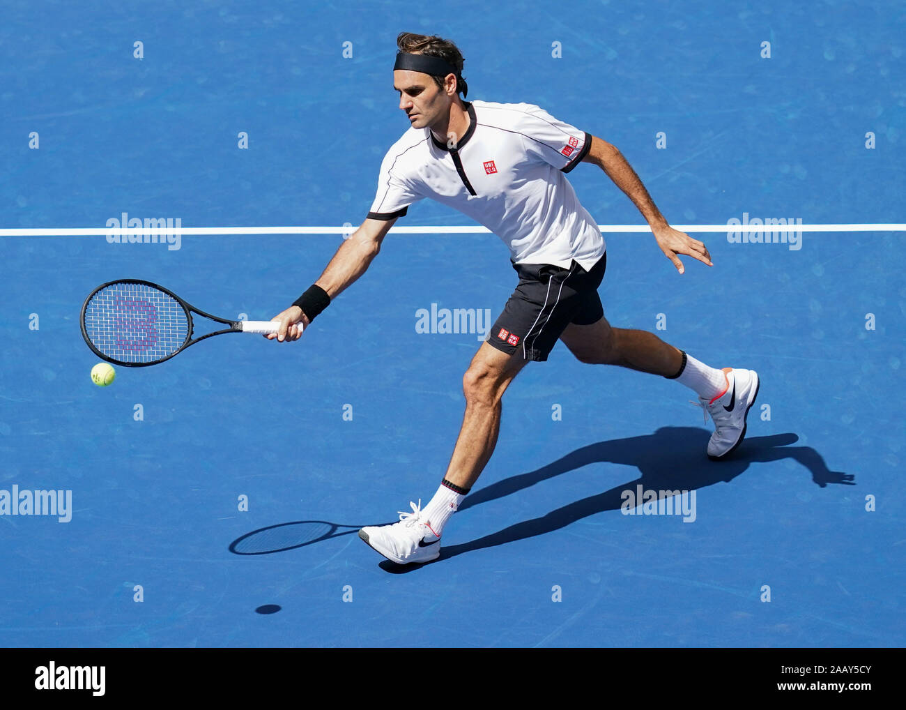 Swiss Tennis Player Roger Federer Playing Forehand Volley During 2019 Us Open Tennis Tournament New York City New York State Usa Stock Photo Alamy