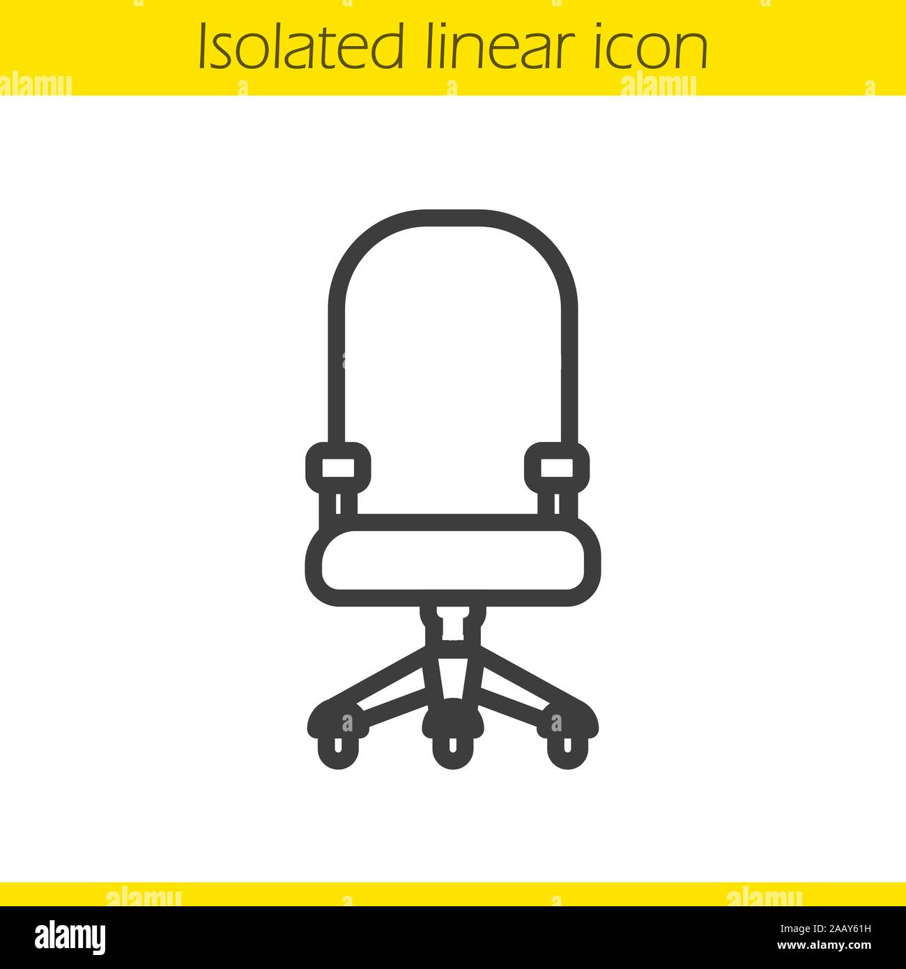Computer chair linear icon. Thin line illustration. Office chair