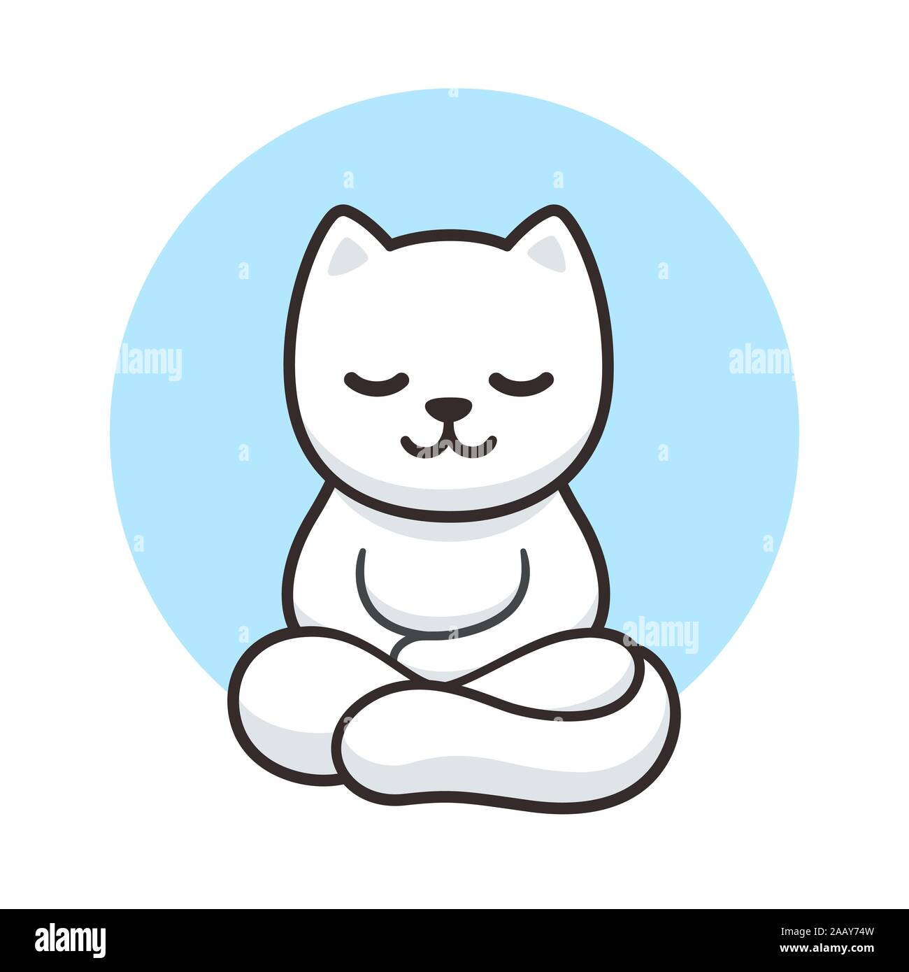 Zen Cat Meditation Simple Cartoon Drawing Cute White Cat Meditating In Lotus Position Vector Clip Art Illustration Stock Vector Image Art Alamy
