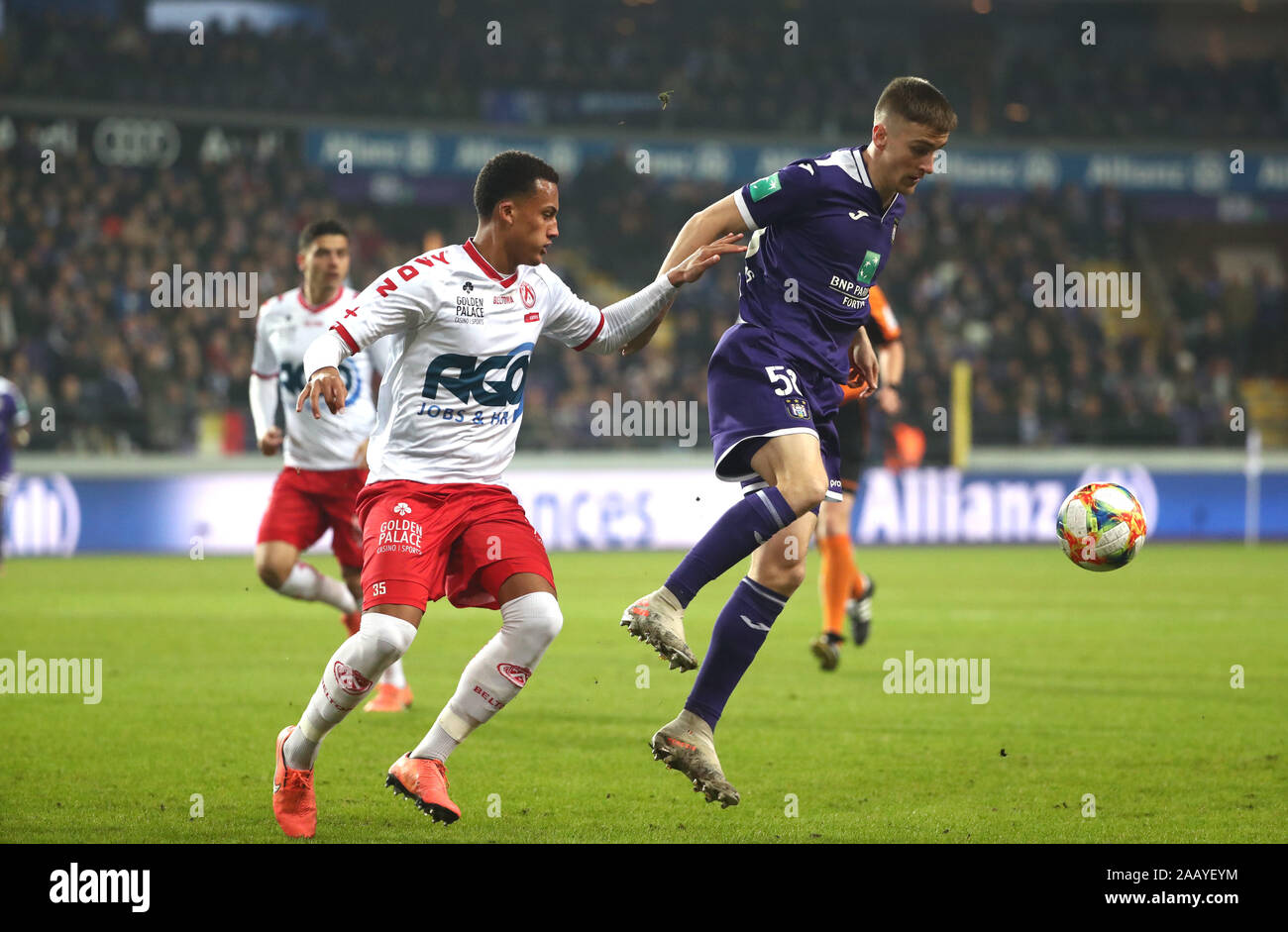 BRUSSELS, BELGIUM - NOVEMBER 24: Alexis Saelemaekers of Anderlecht battles for the ball with Lucas Tuta of Kv Kortrijk during the Jupiler Pro League match day 16 between RSC Anderlecht and KV Kortrijk on November 24, 2019 in Brussels, Belgium. (Photo by V Credit: Pro Shots/Alamy Live News Stock Photo