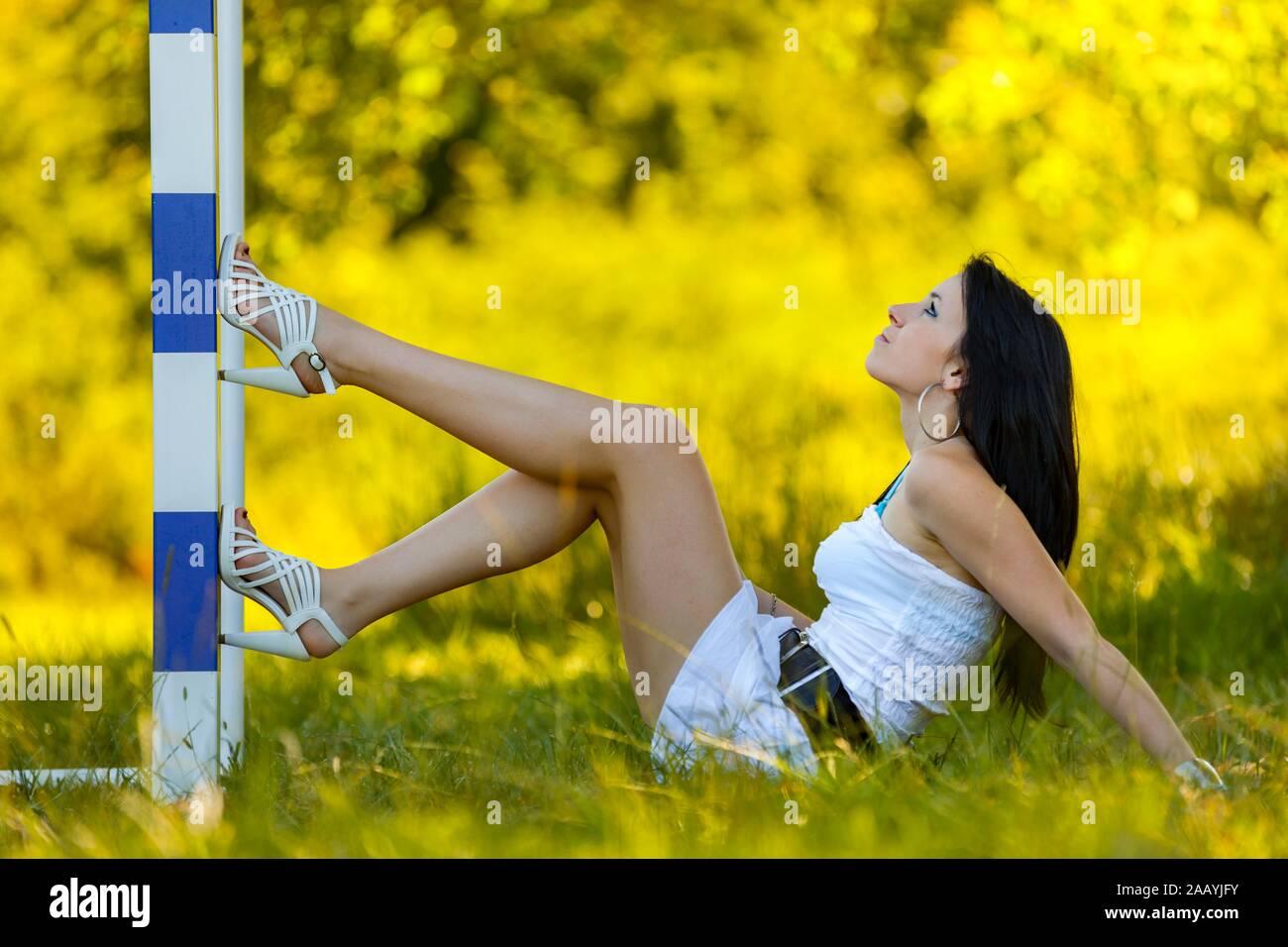 Teen footballaddict footballaddicted footballlover Stock Photo