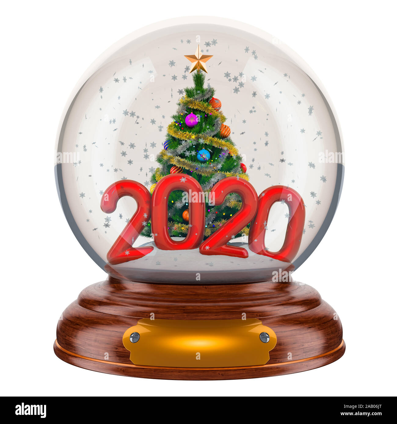 Snow On Christmas 2020 Christmas snow globe 2020 with Christmas tree inside, 3D rendering