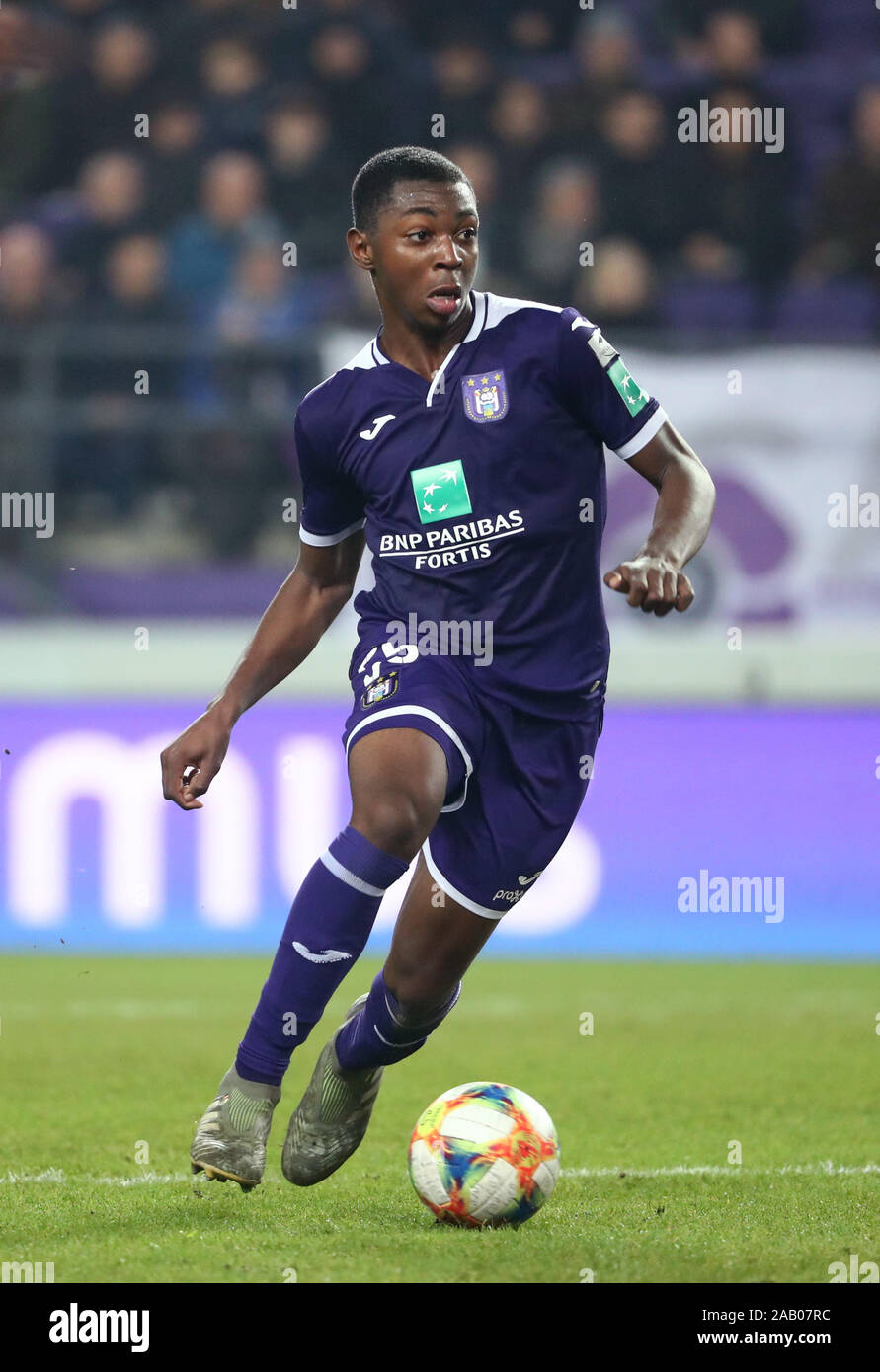 BRUSSELS, BELGIUM - NOVEMBER 24: Marco Kana of Anderlecht in action during  the Jupiler Pro League match day 16 between RSC Anderlecht and KV Kortrijk  on November 24, 2019 in Brussels, Belgium. (