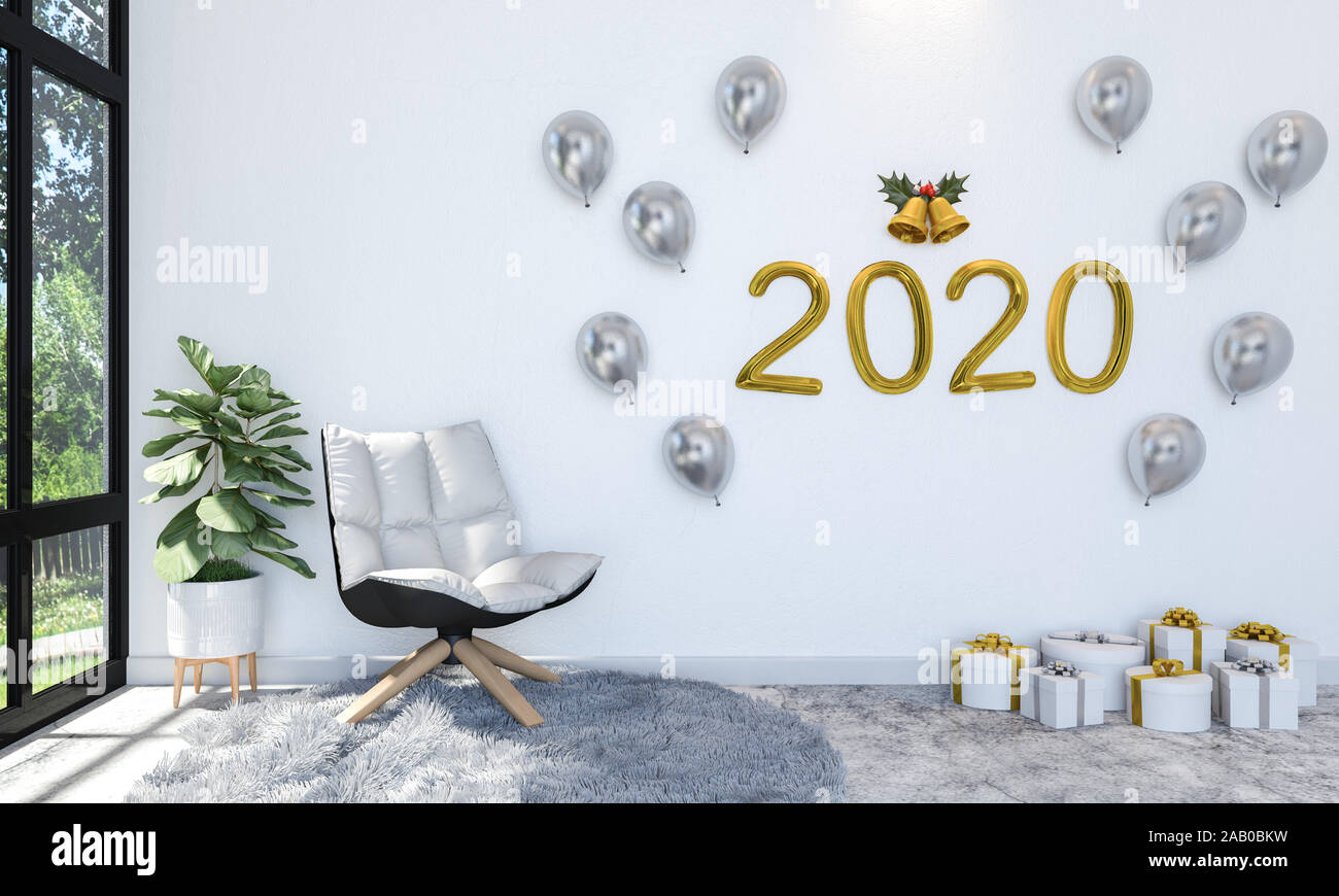 Interior of Living Room Decorating with Golden and Silver Balloon