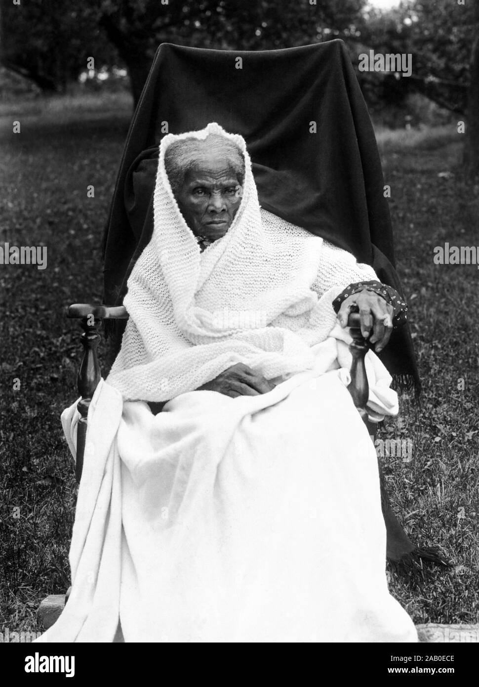 Vintage portrait photo of Harriet Tubman (c1820 – 1913). Born into slavery, Tubman (birth name Araminta Ross) escaped and later guided other slaves to freedom via the Underground Railroad before working as a nurse, spy and scout for the Union Army during the American Civil War. In later life she engaged in humanitarian work and promoted the cause of women's suffrage. Photo circa 1911, likely taken at Tubman's home in Auburn, New York. Stock Photo