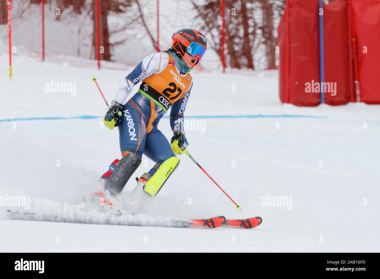 Quebec,Canada. A skier competes in the Super Serie Sports Experts Ladies slalom race held at Val Saint-Come Stock Photo