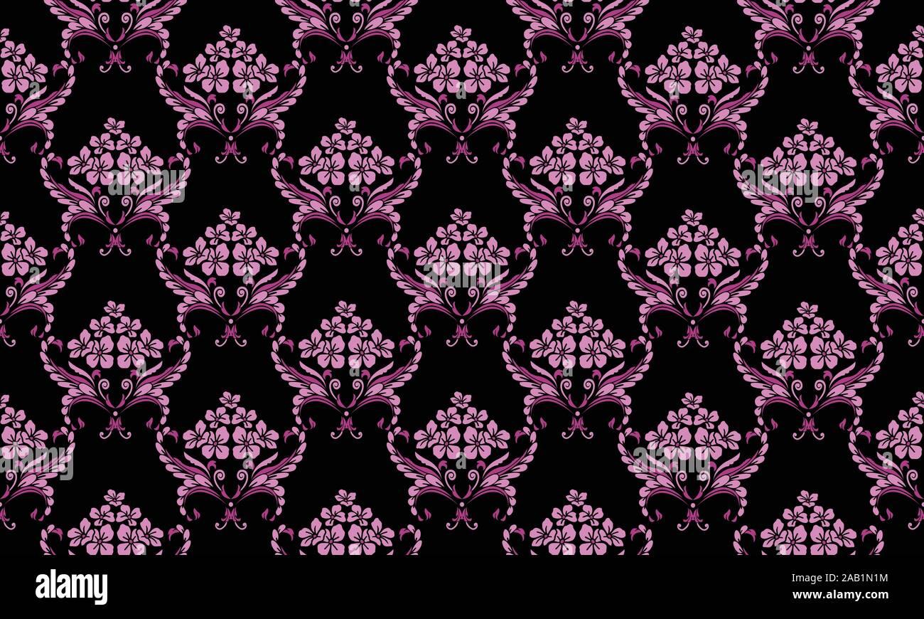 Magenta Leaf Flower On Black Background Floral Pattern Wallpaper