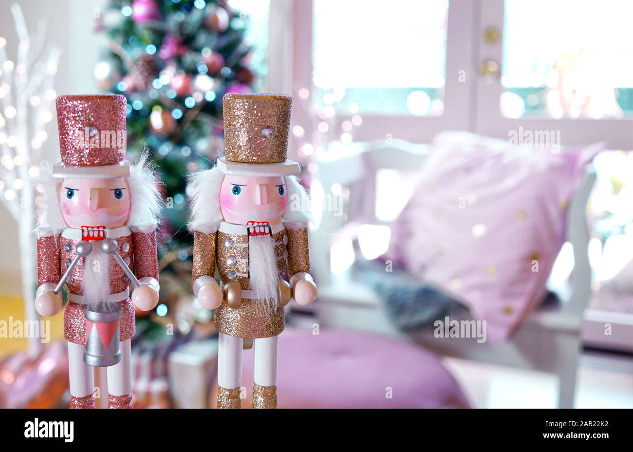 On Trend Pink And Rose Gold Trimmed Christmas Tree With Tray Of Cookies And Hot Chocolate For Santa Close Up On Nutcrackers Stock Photo Alamy