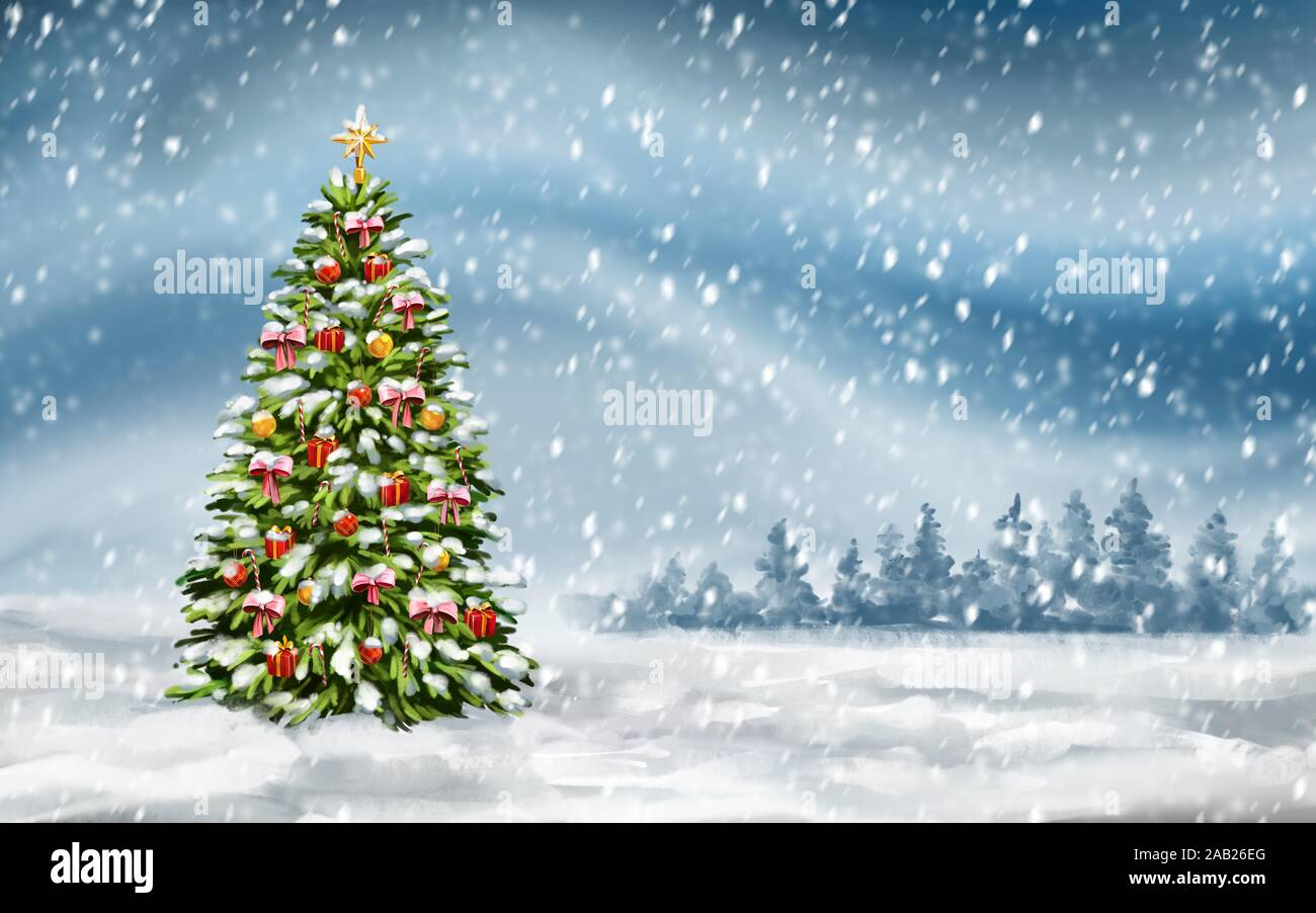 christmas tree on winter background decorative christmas wallpaper art illustration painted with watercolors 2AB26EG