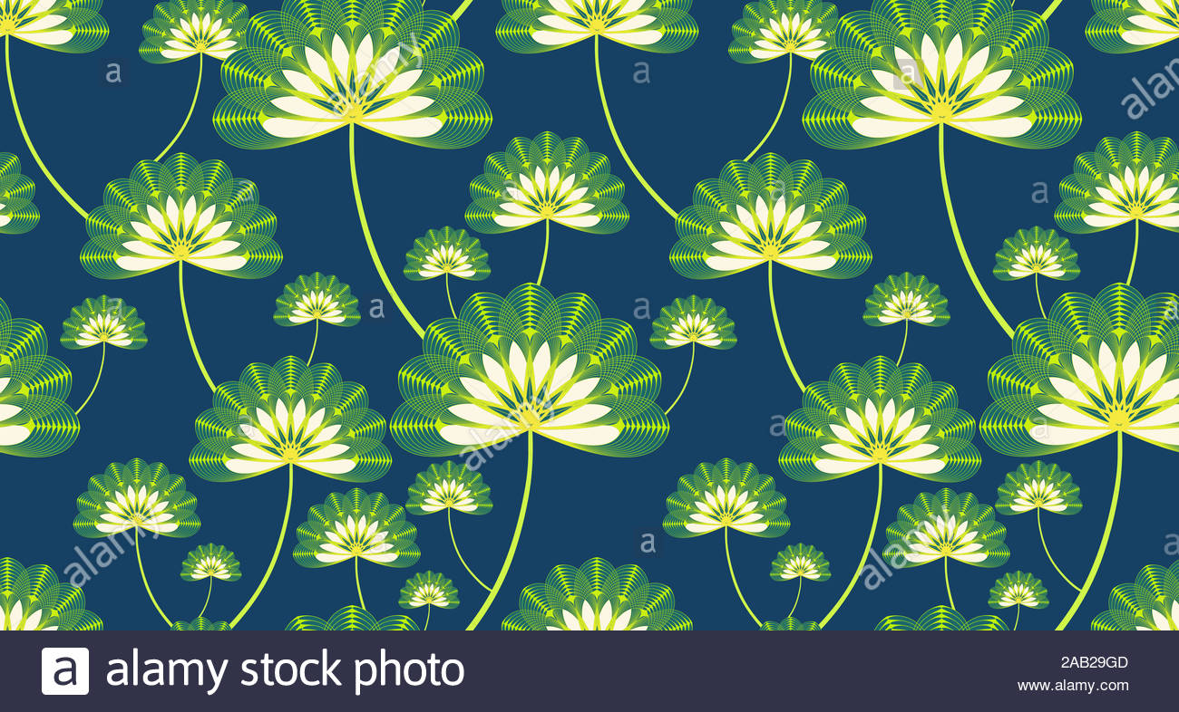 Stylized Lotus Floral Wallpaper In Dark Blue Green Shades Stock