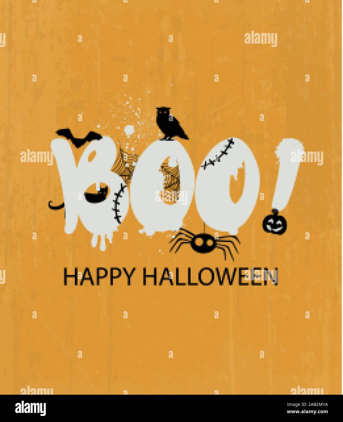 Happy halloween with frightening boo text Owl pumpkins