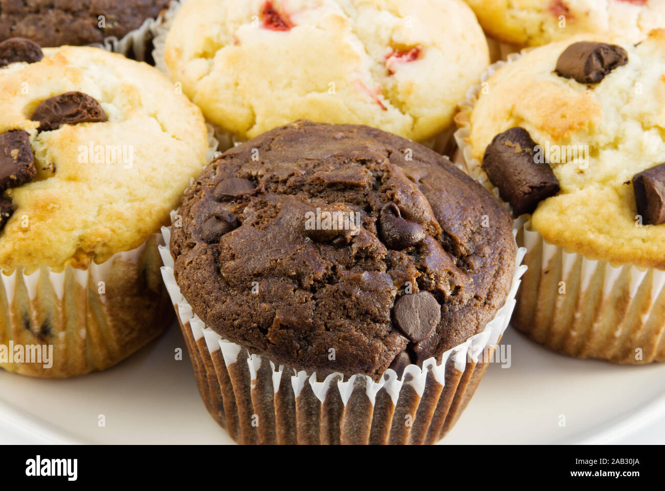 Homemade Jumbo Sized Assorted Sweet Muffins For Breakfast Muffins Are Chocolate Chip Chocolate Marshmallow And Strawberry Buttermilk Stock Photo Alamy