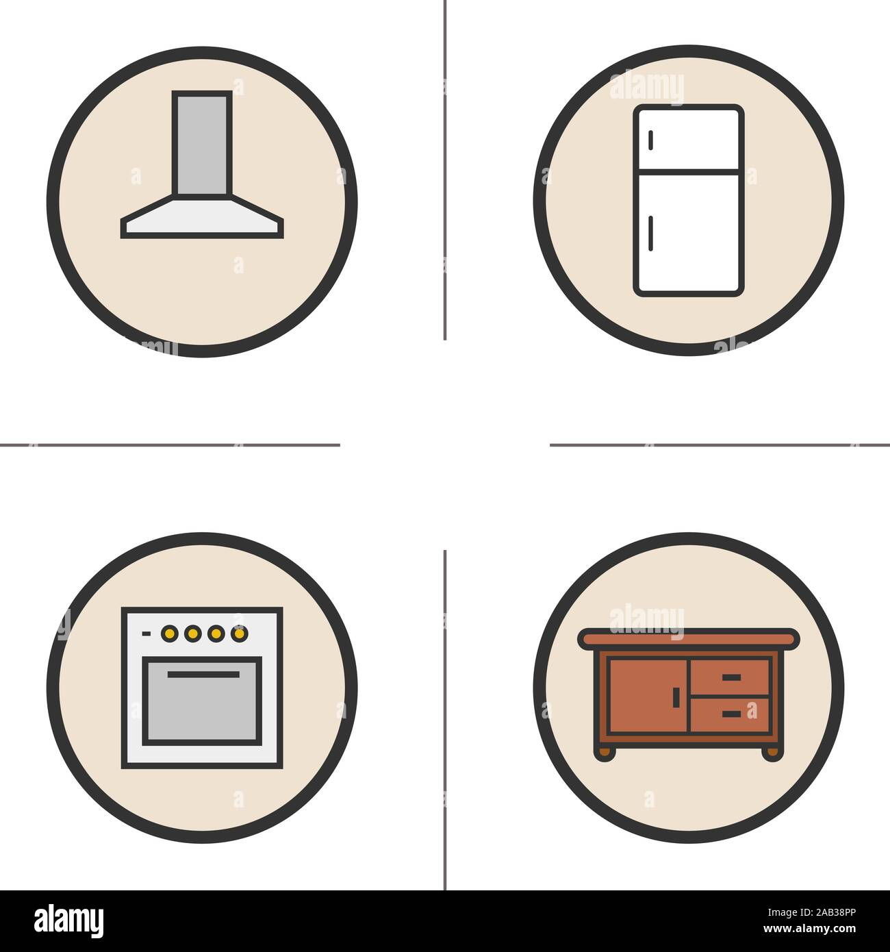 Kitchen Interior Color Icons Set Extractor Hood Fridge