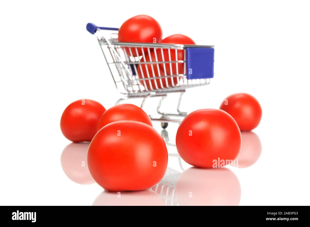Einkaufswagen und Tomaten Stock Photo