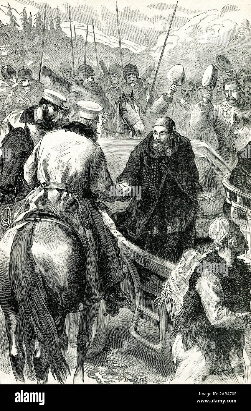 Osman Pasha on the way from Pleven (Plevna). Engraving of the 19th century. Stock Photo