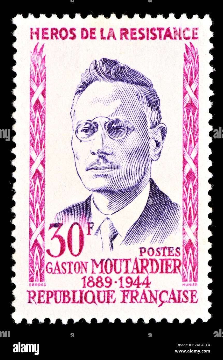 French postage stamp (1959) : Gaston Moutardier (1889-1944) Hero of the French Resistance Stock Photo