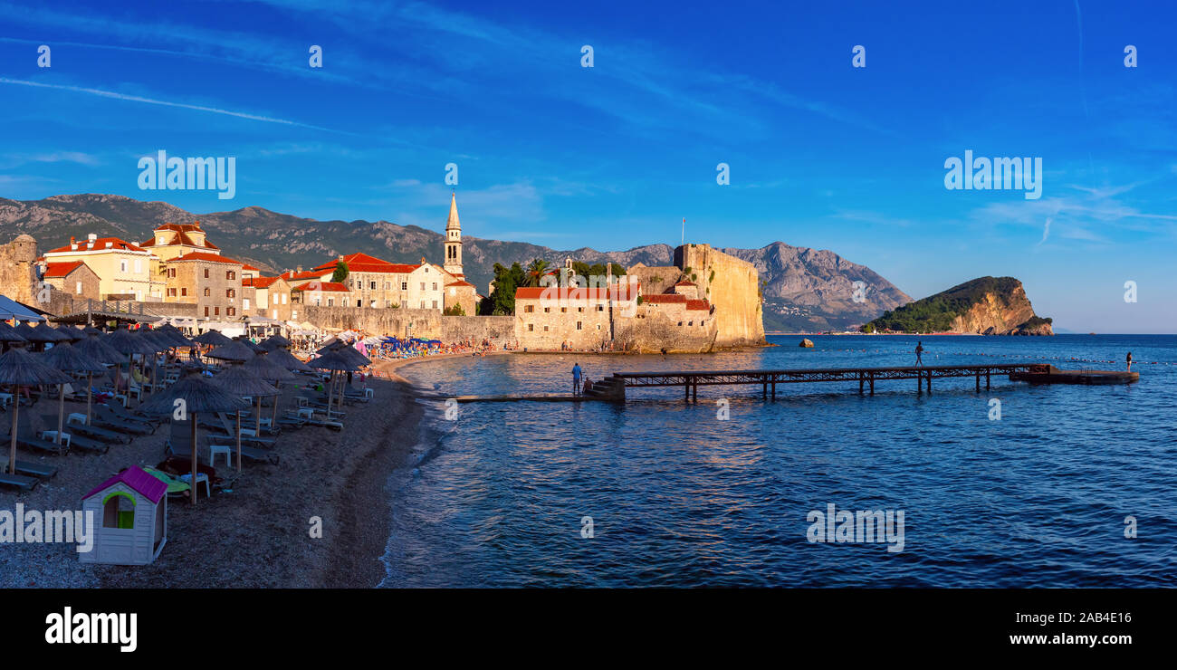 Panoramic view of The Old Town of Montenegrin town Budva on the Adriatic Sea, Montenegro Stock Photo