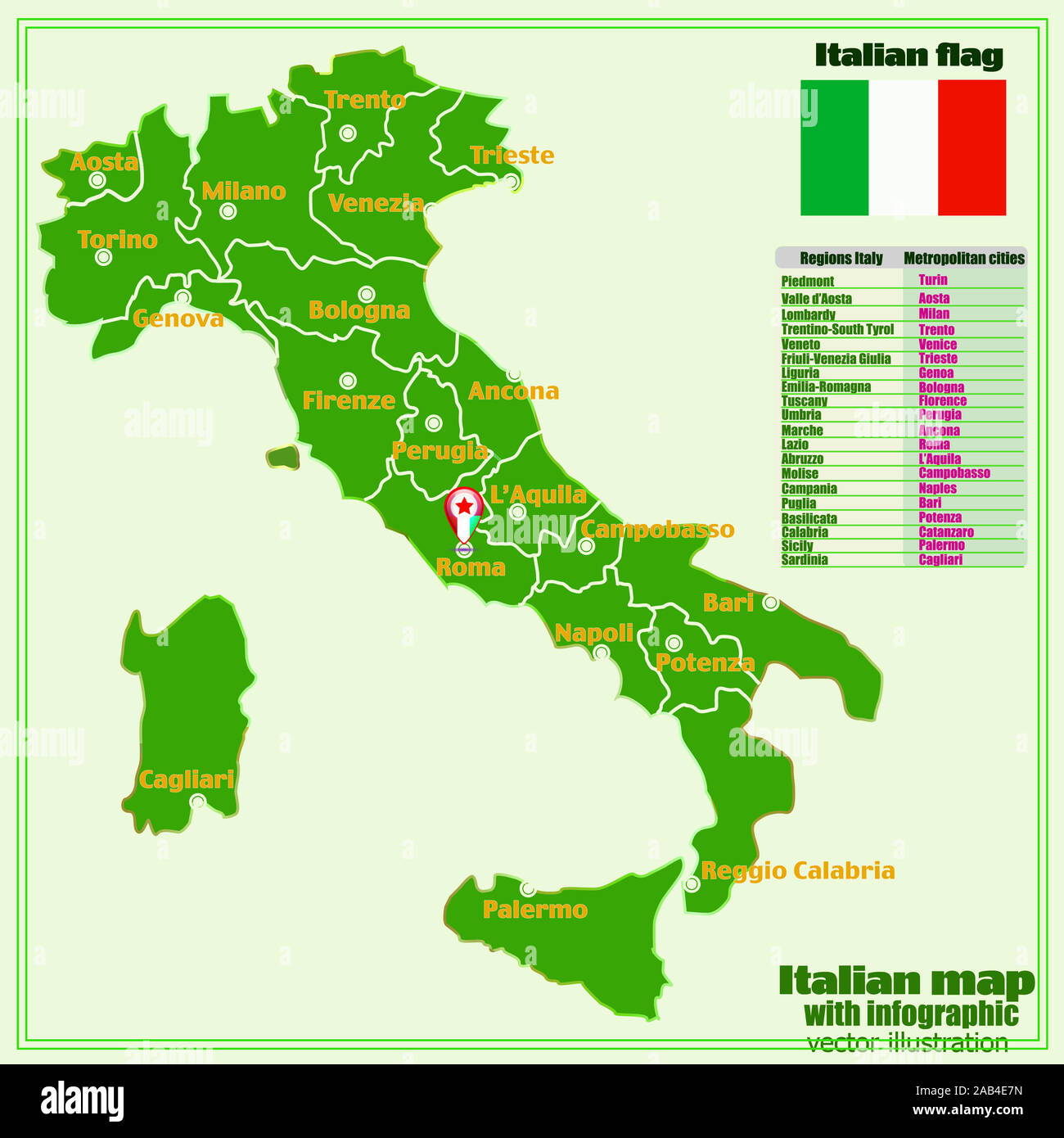 Regions Of Italy Map With Cities.Map Of Italy With Infographic Italy Map With Italian Major