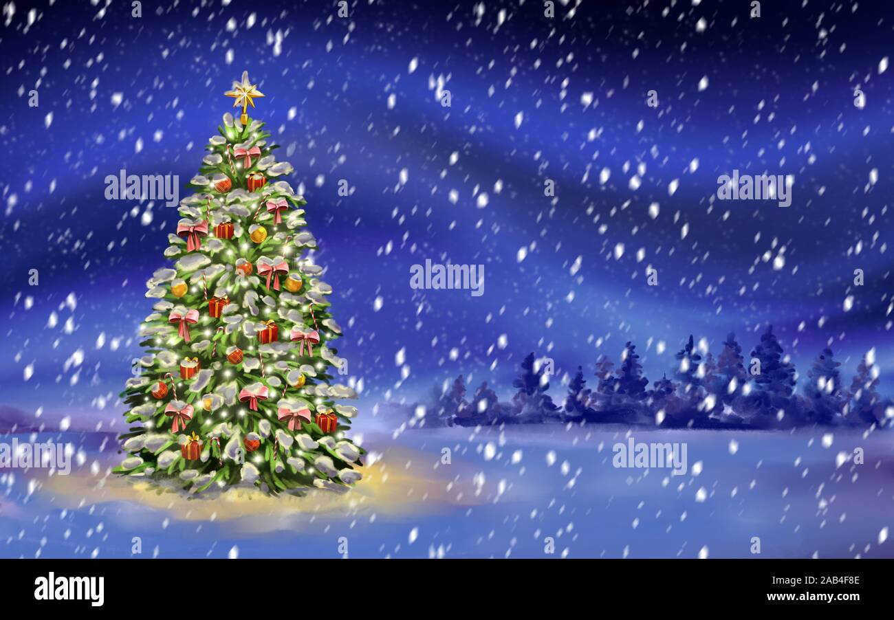 Christmas Night Christmas Tree On Winter Background Decorative Christmas Wallpaper Art Illustration Painted With Watercolors Stock Photo Alamy