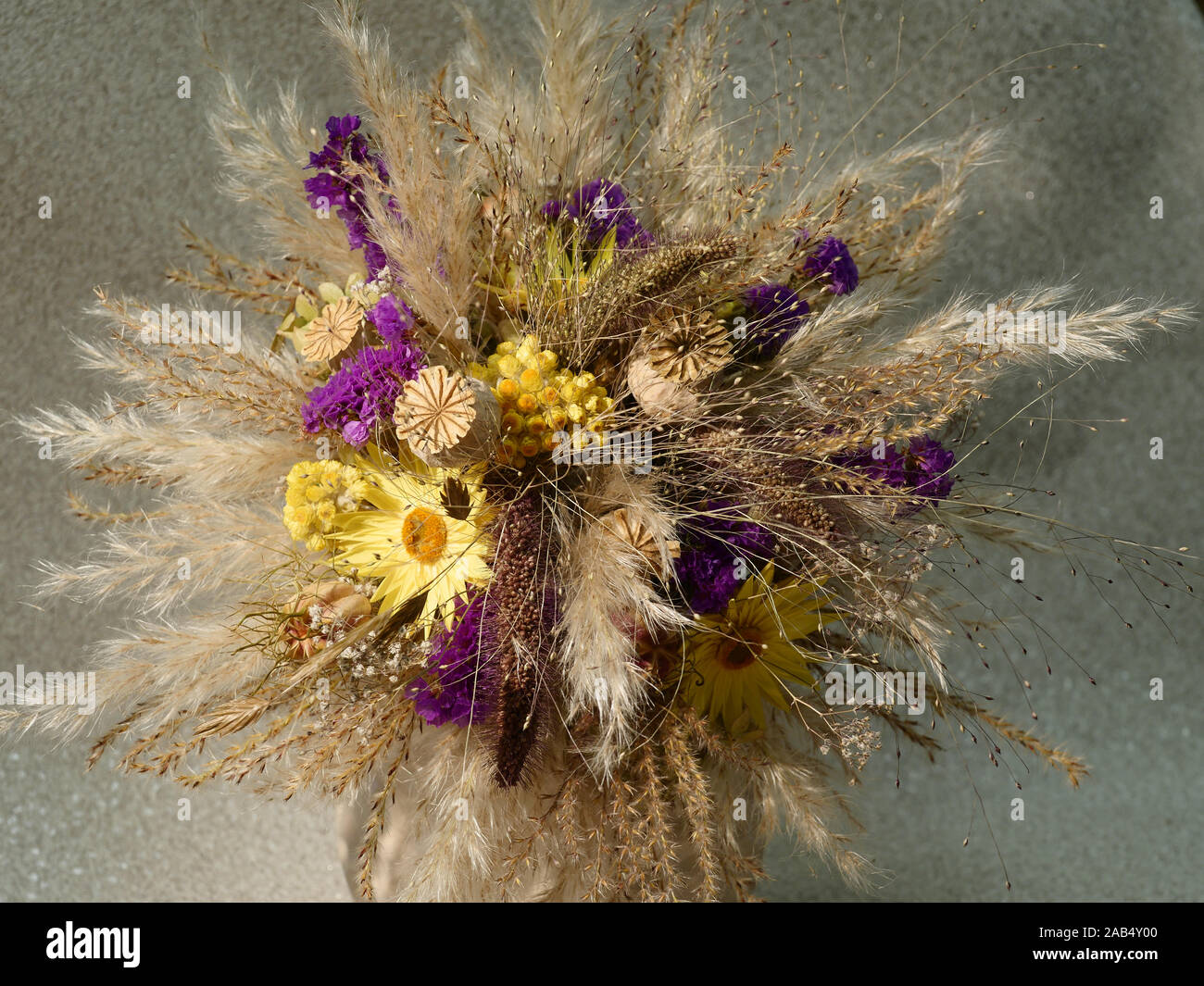 Dried Flower And Grass Arrangement Yellow And Purple Stock Photo Alamy