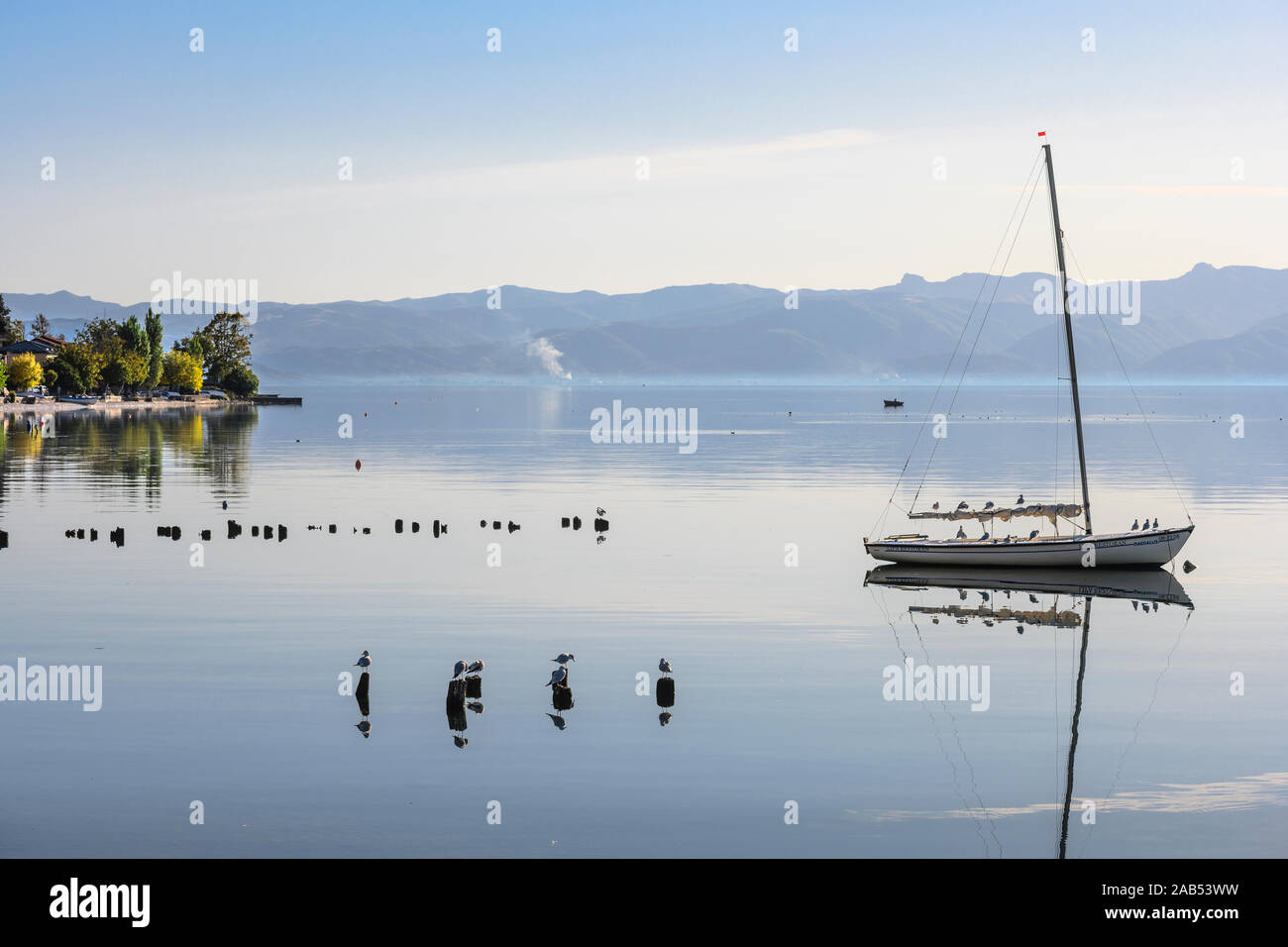 Looking across Lake Ohrid from Peshtani in North Macedonia, with Albania in the distance, North Macedonia,  Europe. Stock Photo