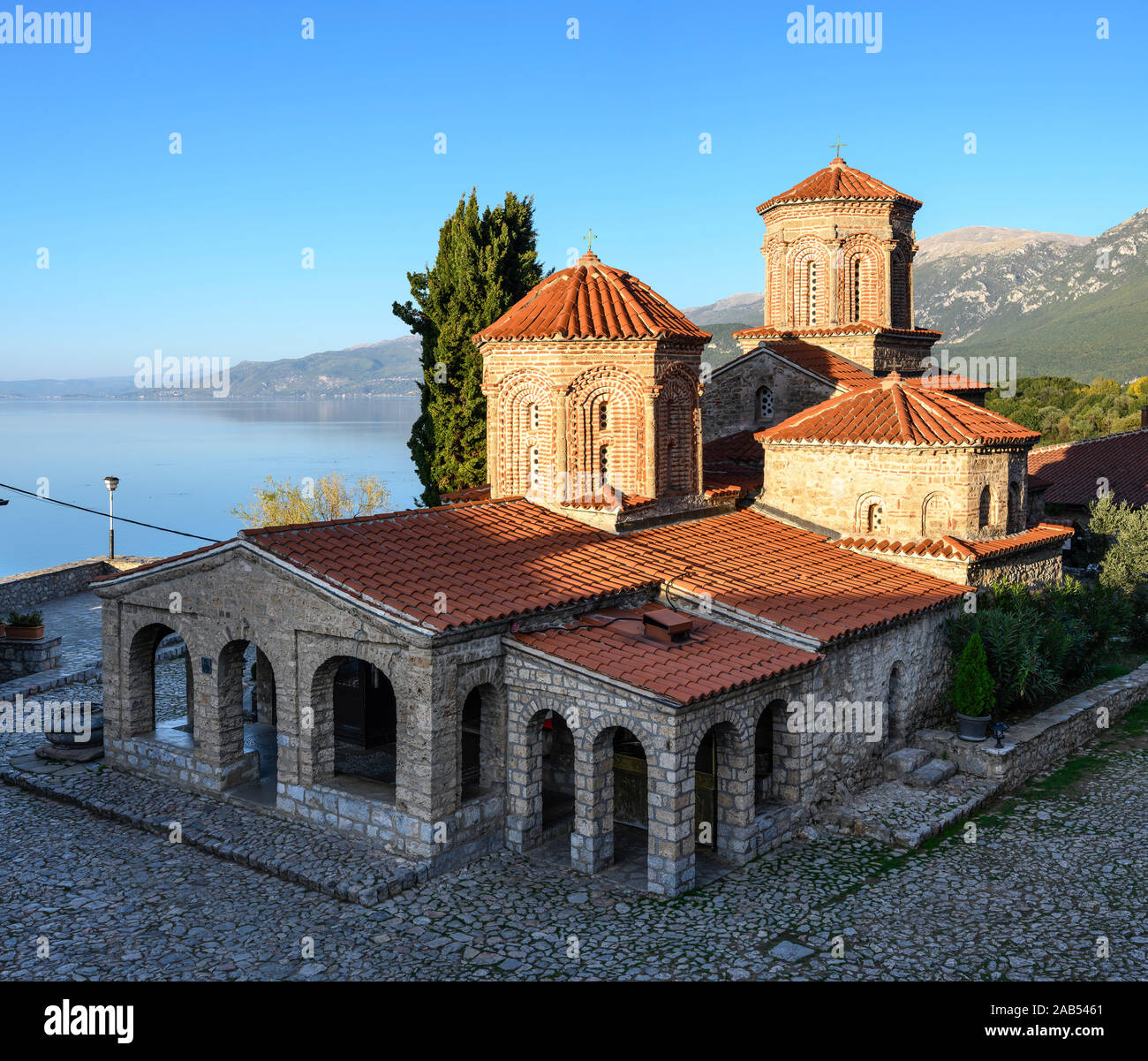 The church of St.Naum of Ohrid, at the Monastery of the same name on the shore of Lake Ohrid in North Macedonia,  Europe. Stock Photo