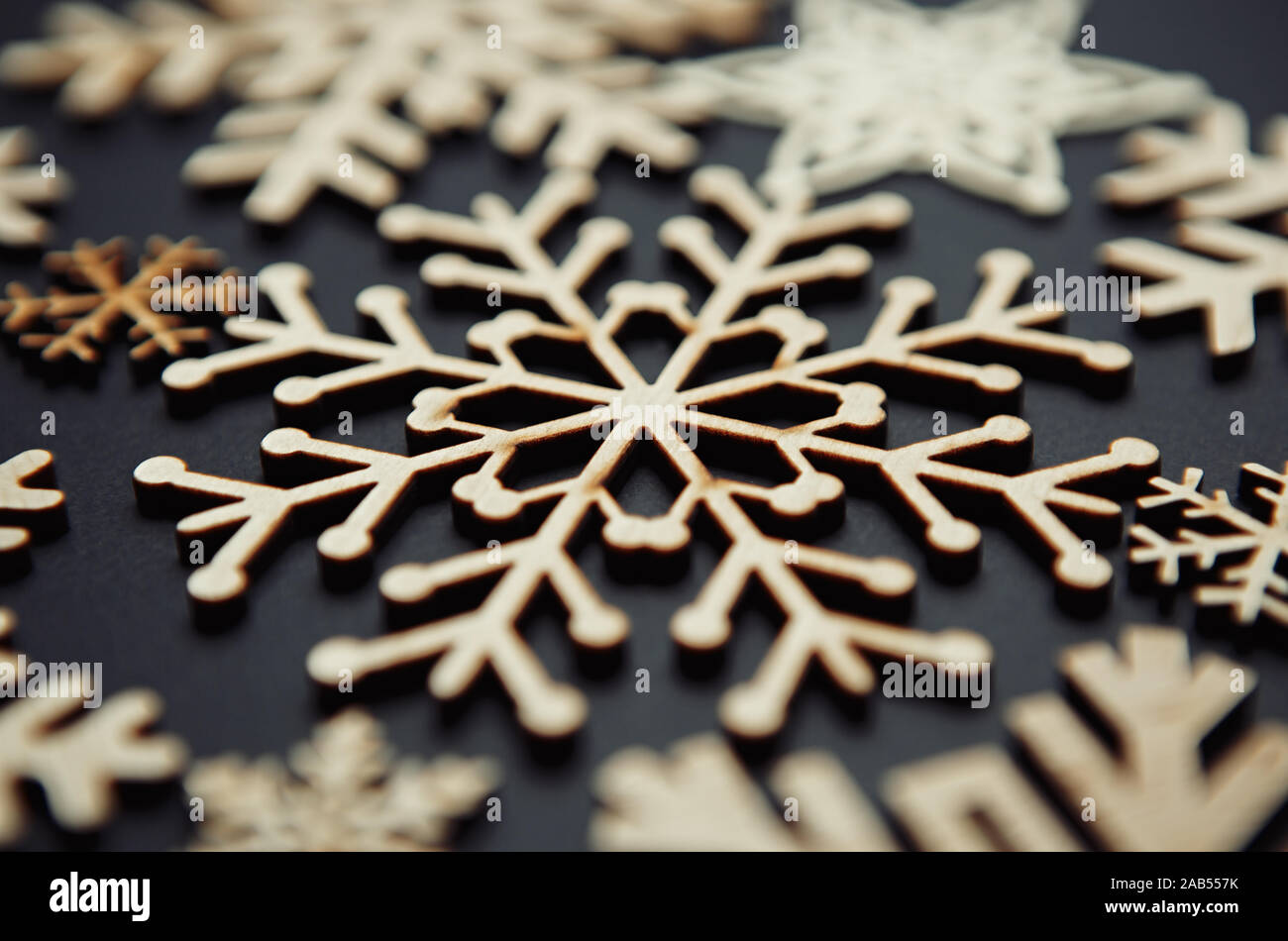 Rustic Wooden Snowflakes For Christmas Tree Decoration Handmade Crafts For Winter Holidays Celebration Home Decor For New Year Party Stock Photo Alamy