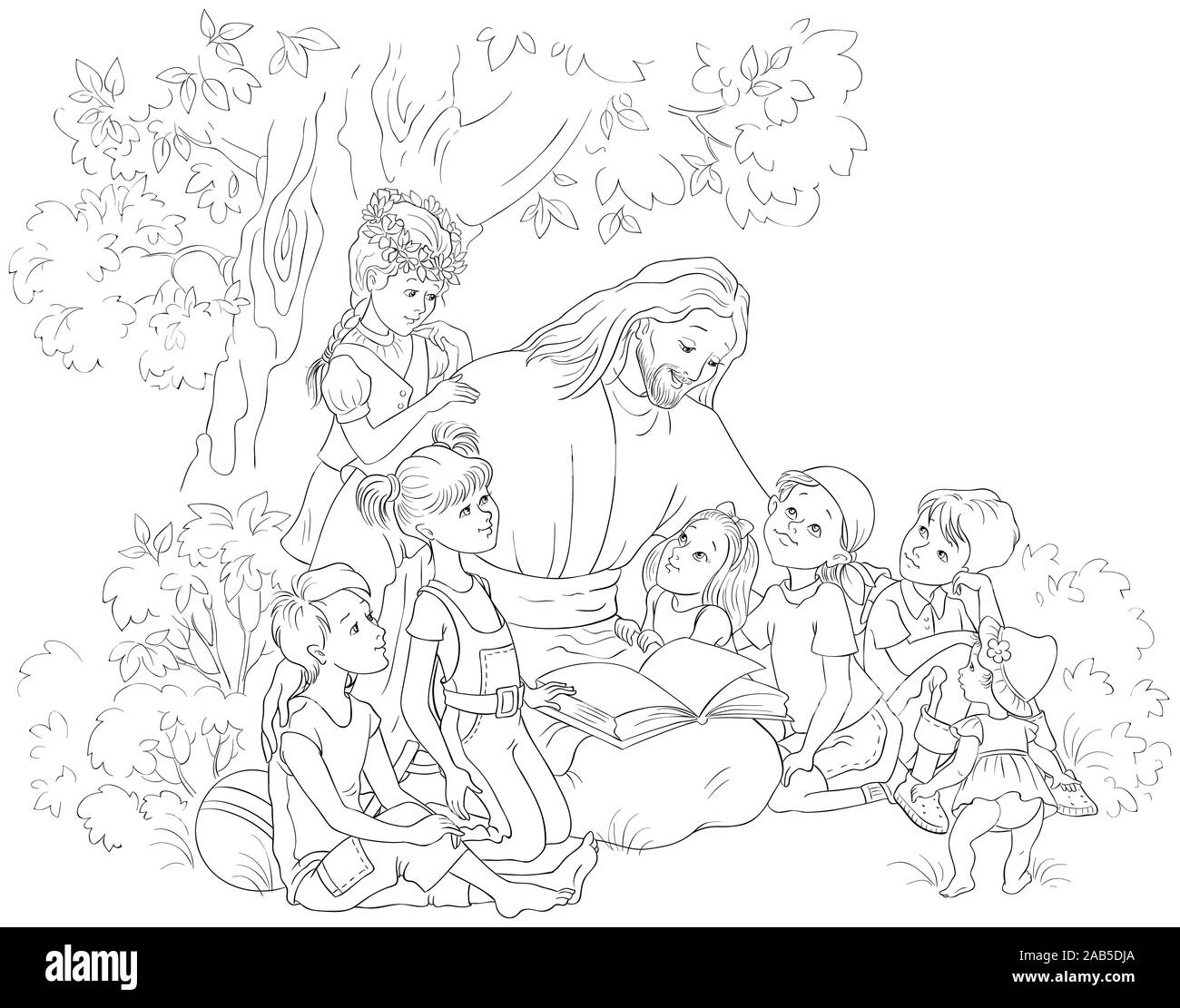 jesus reading the bible with children coloring page christian cartoon black and white illustration 2AB5DJA