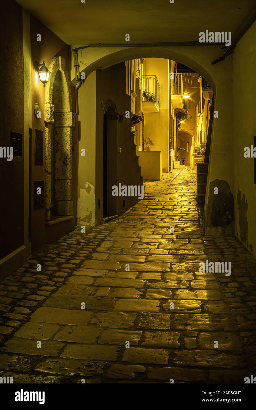 Medieval alley Of Termoli by Night, Molise Italy Stock Photo
