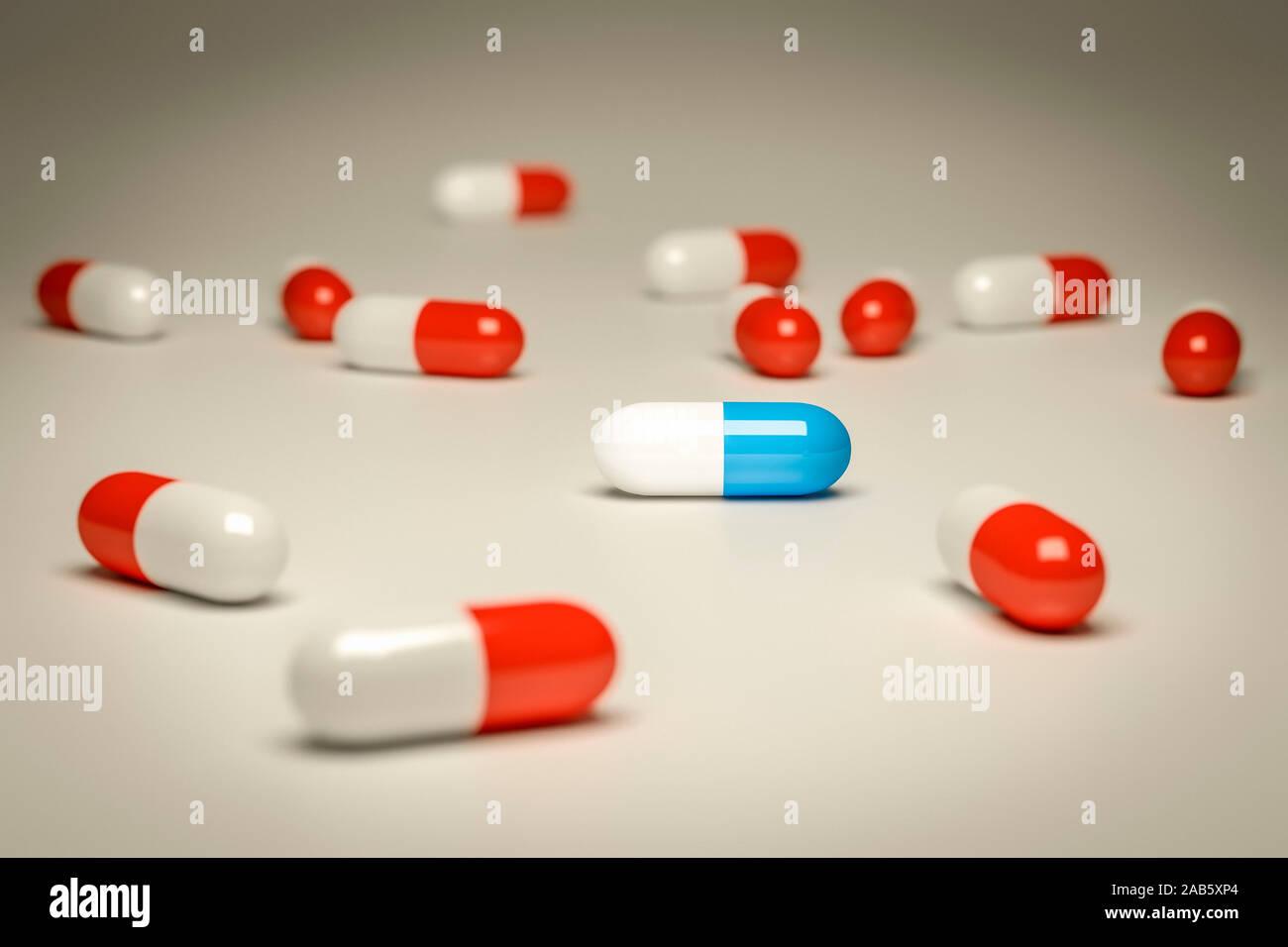 Zahlreiche rote und eine blaue Pille vor grauem Hintergrund Stock Photo