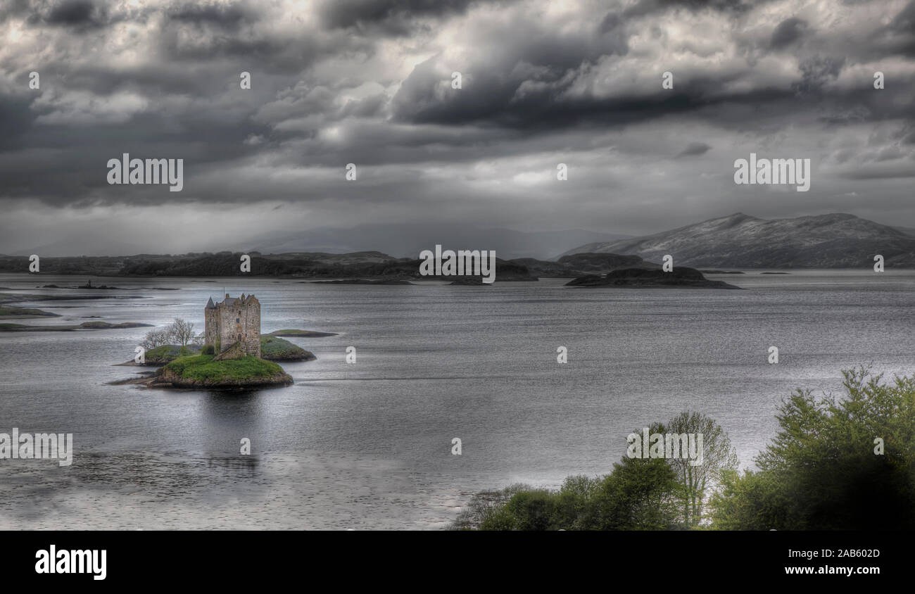 A hdri photography of the Castle Stalker in Scotland Stock Photo