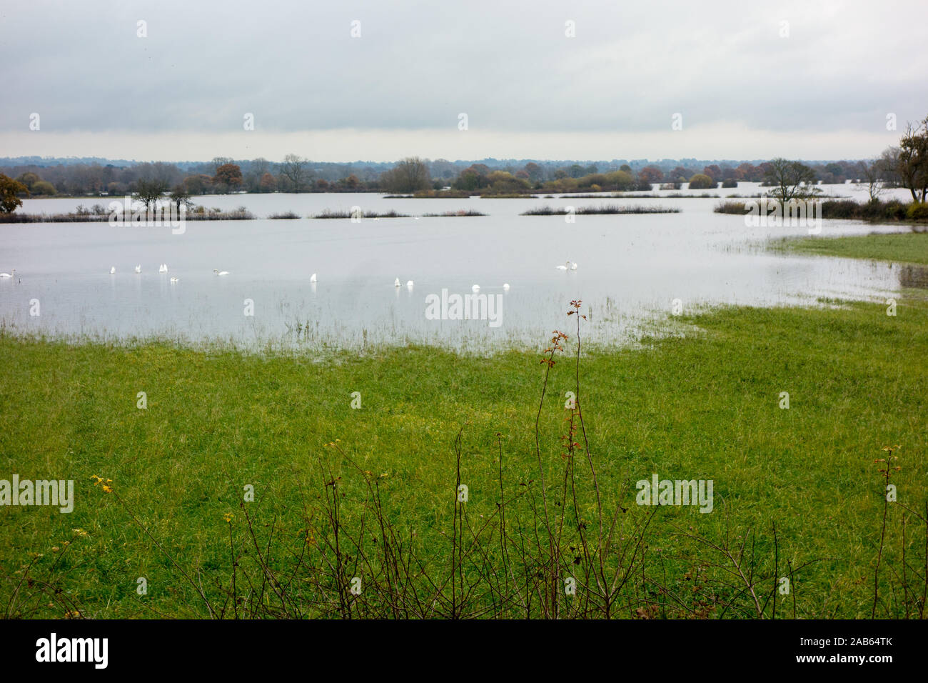 Flooded Cheshire farmland during the storms and heavy rain of Autumn 2019 at the flood plains on the English Welsh border at Farndon and Holt Stock Photo