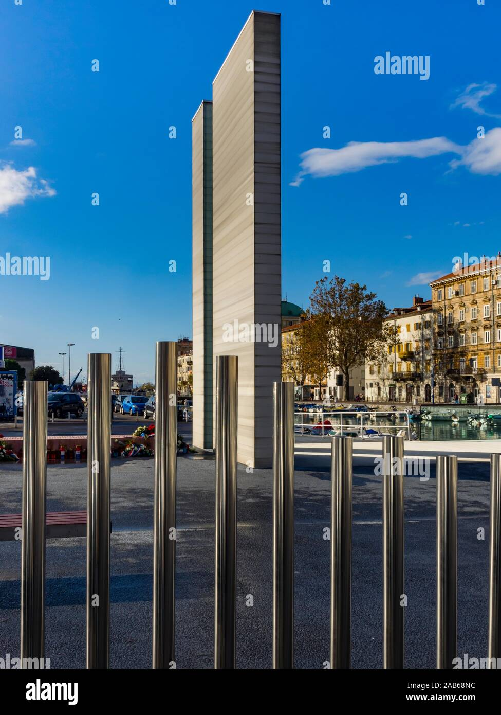 Parking lot place Delta music tubes and war monument  in town Rijeka in Croatia Stock Photo