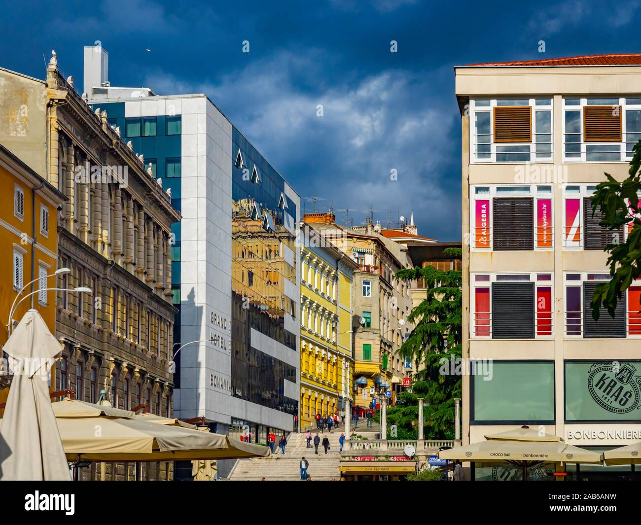 Town Rijeka in Croatia Korzo main street with Grand hotel Bonavia in center Stock Photo